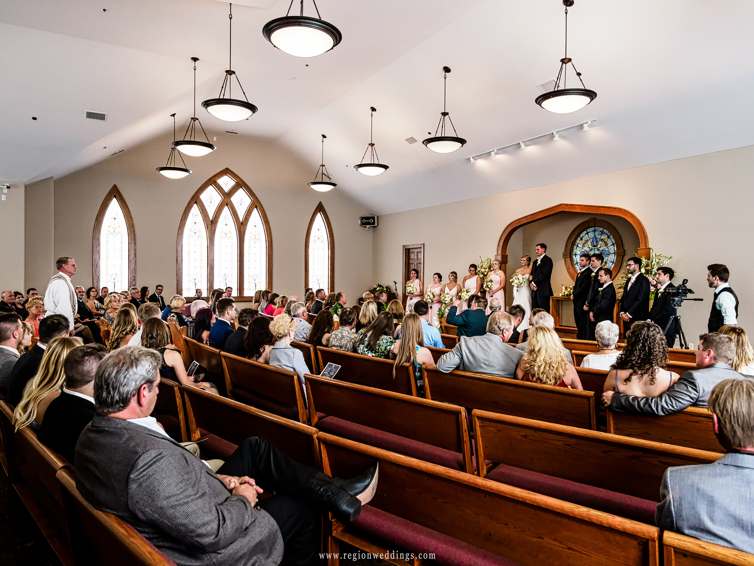 Congregation attend a wedding ceremony at Aberdeen Chapel in Valparaiso.