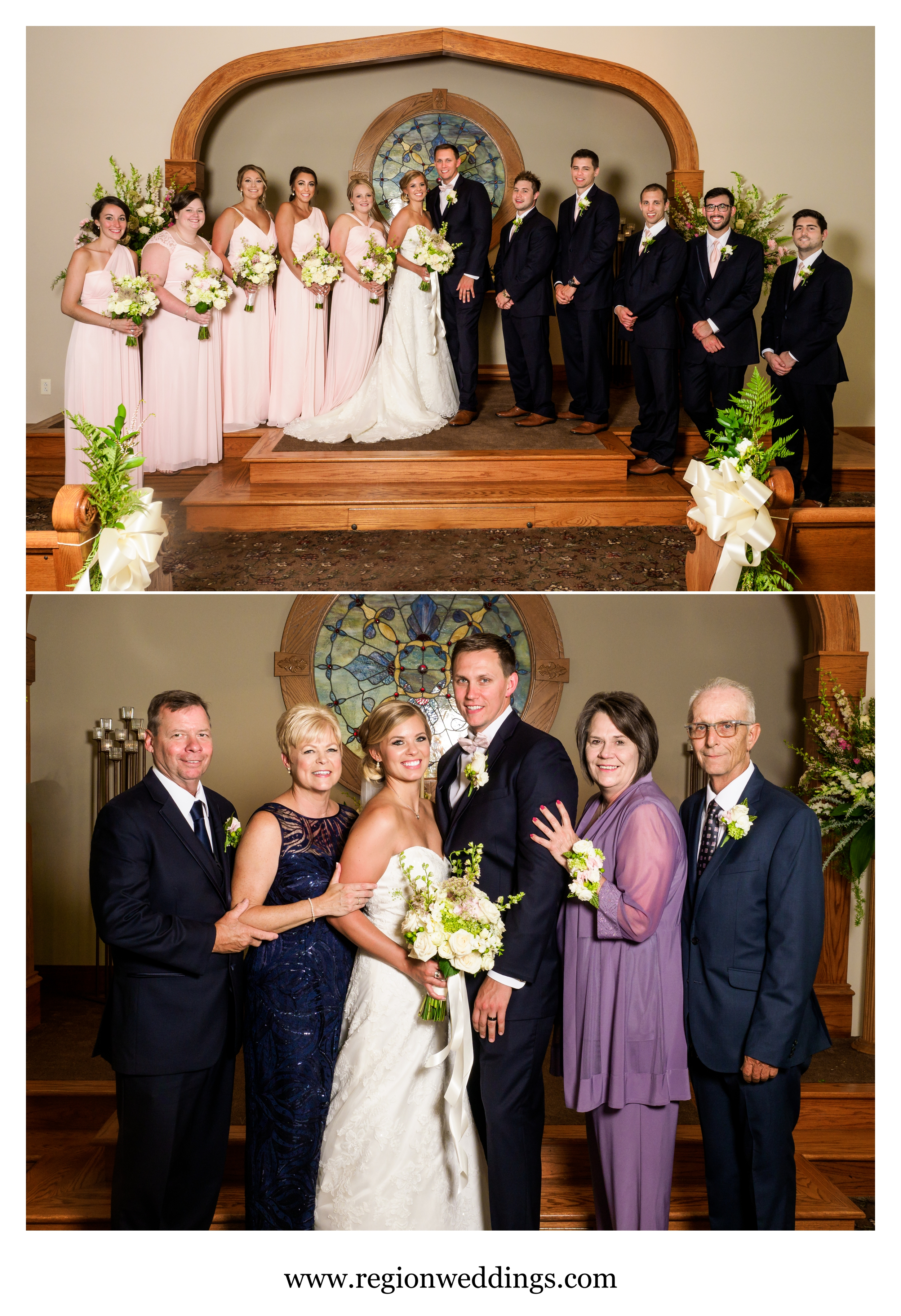 Family and wedding party portraits inside the Aberdeen Chapel.