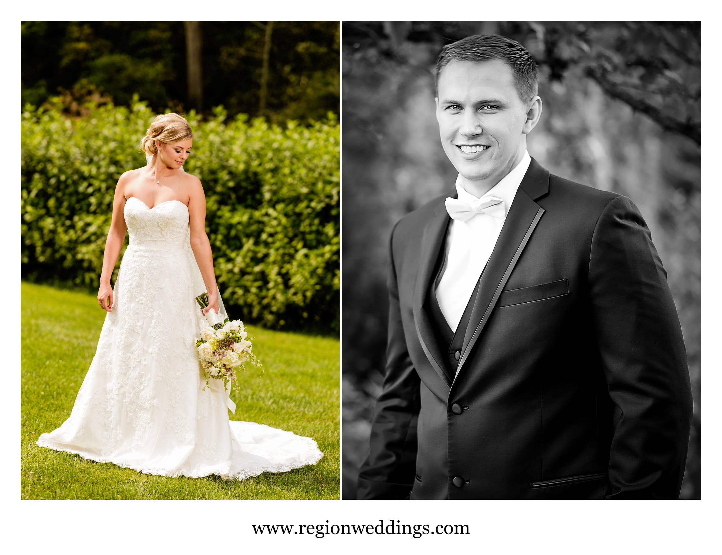 Portraits of the bride and groom at their summer wedding in Valparaiso, IN.