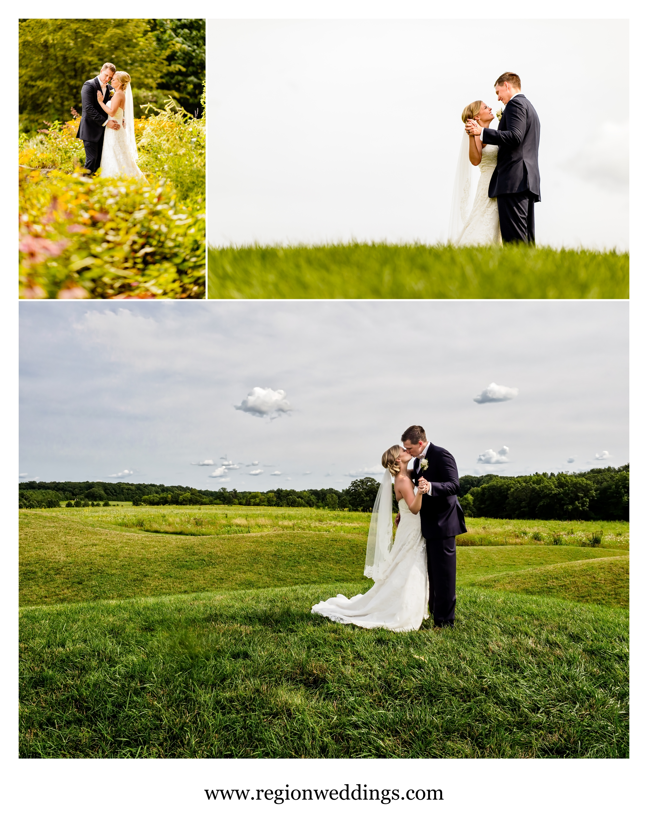 The bride and groom slow dance on the rolling hills of Taltree Arboretum nature preserve.