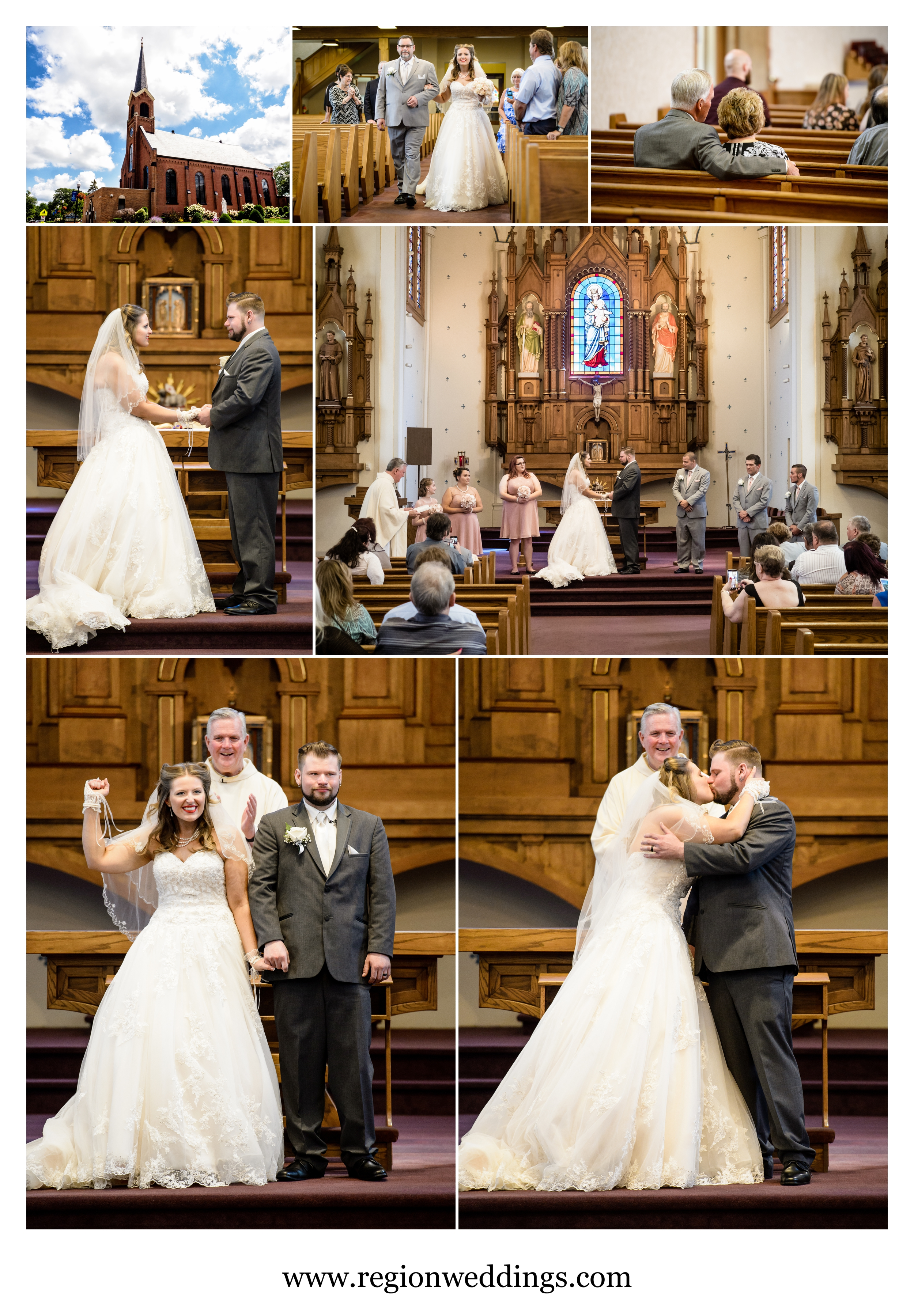 Summer wedding ceremony at Saint Mary's Church in Crown Point, Indiana.