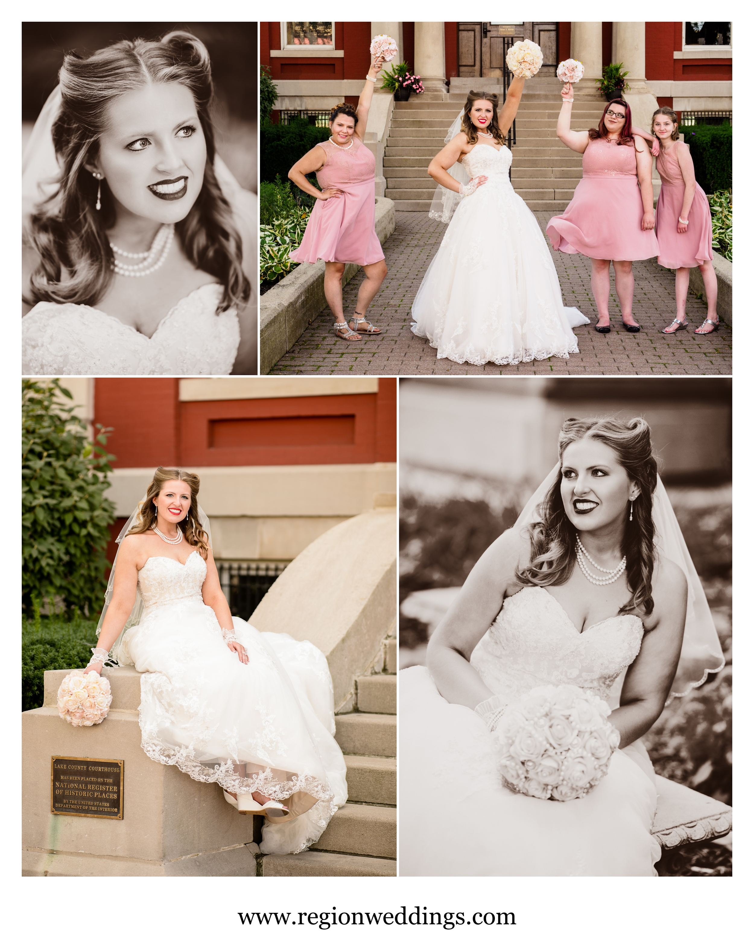 The bride and her bridesmaids have fun in in downtown Crown Point.