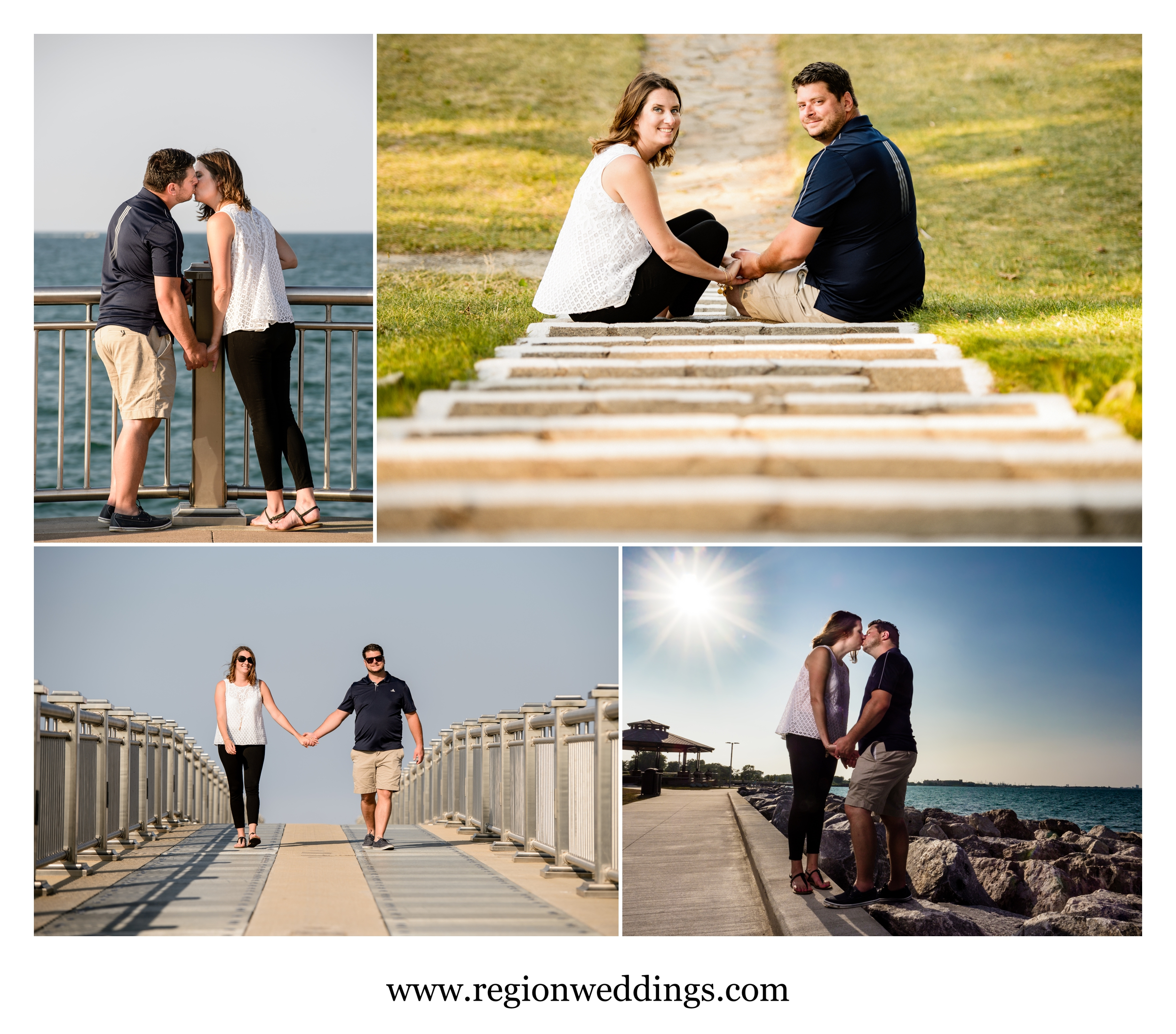 Engagement photos during the summer at Whiting Lakefront Park.