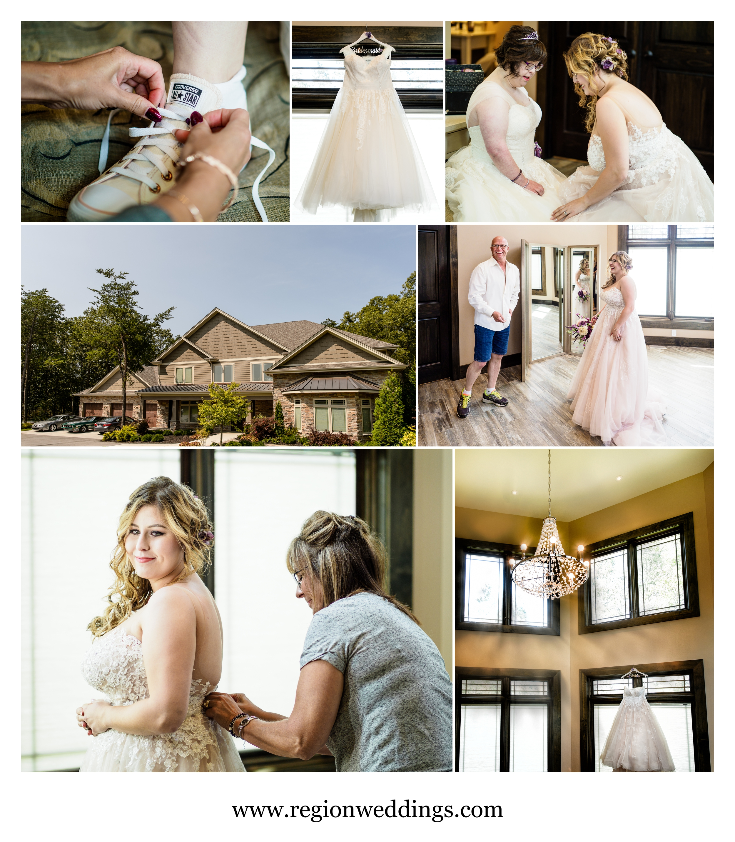 Bride getting ready at the bridal house at The Pavilion at Sandy Pines.