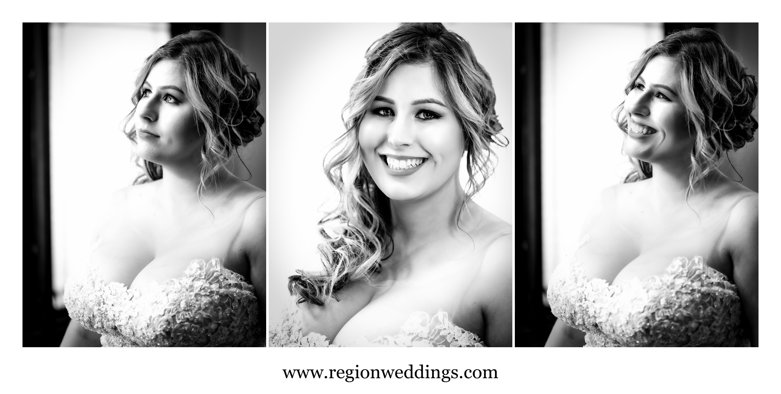 Black and white bridal portraits.