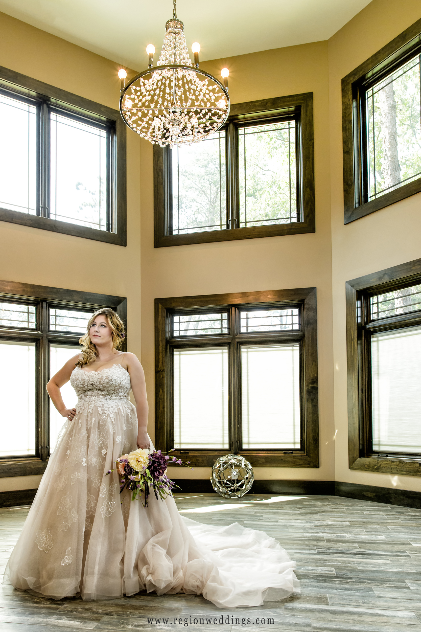 The bride in her wonderful dress at Sandy Pines bridal house.