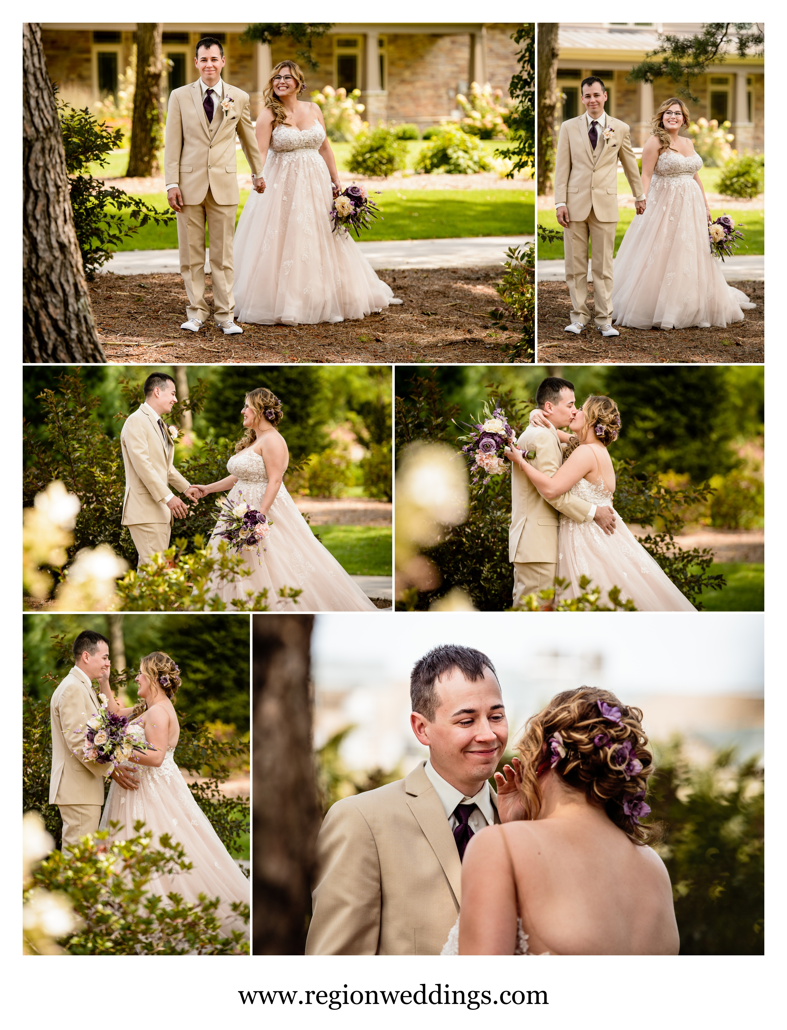 First look bride and groom reveal at Sandy Pines Golf Course.