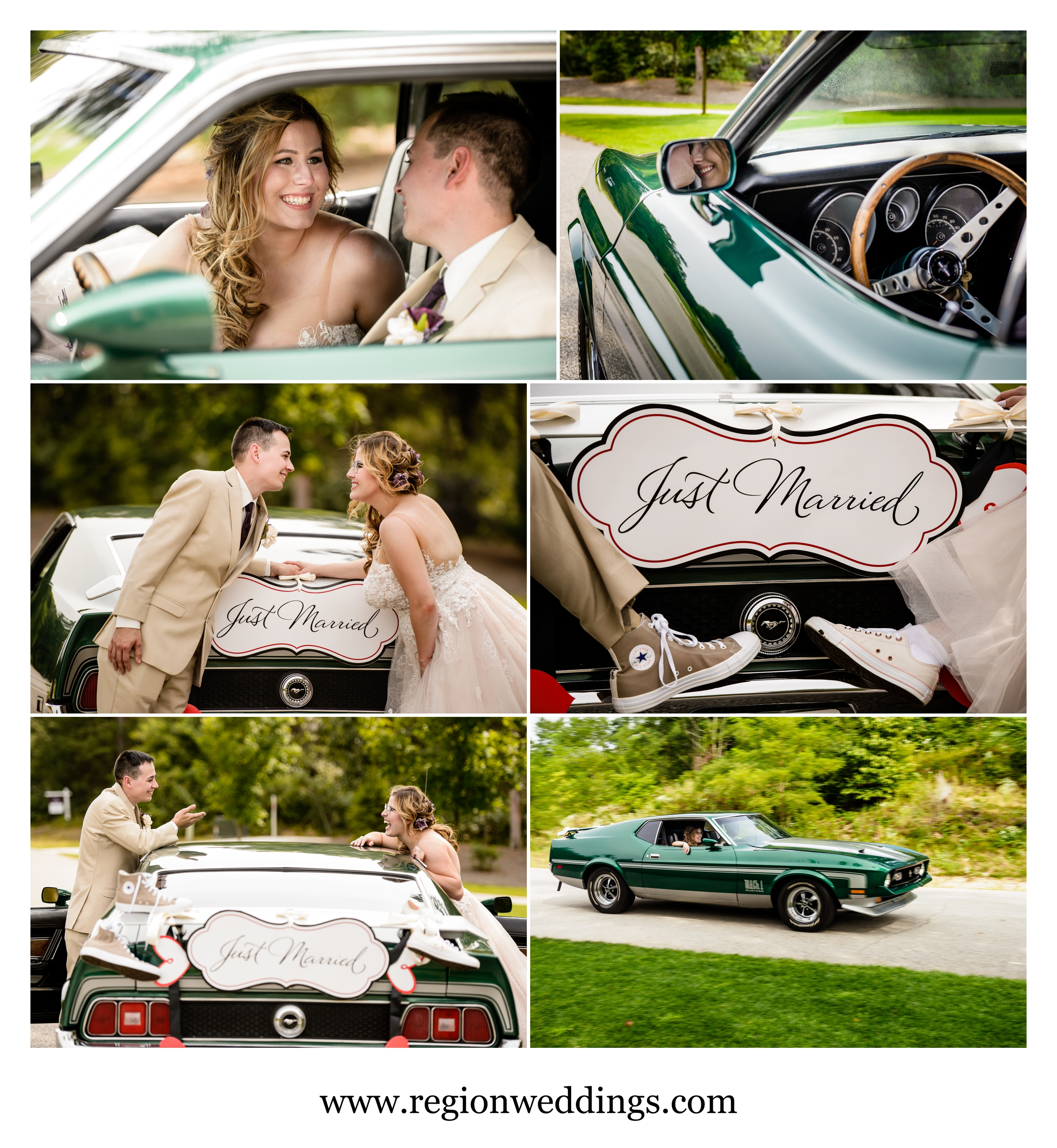 Classic car wedding photos in Demotte, Indiana.