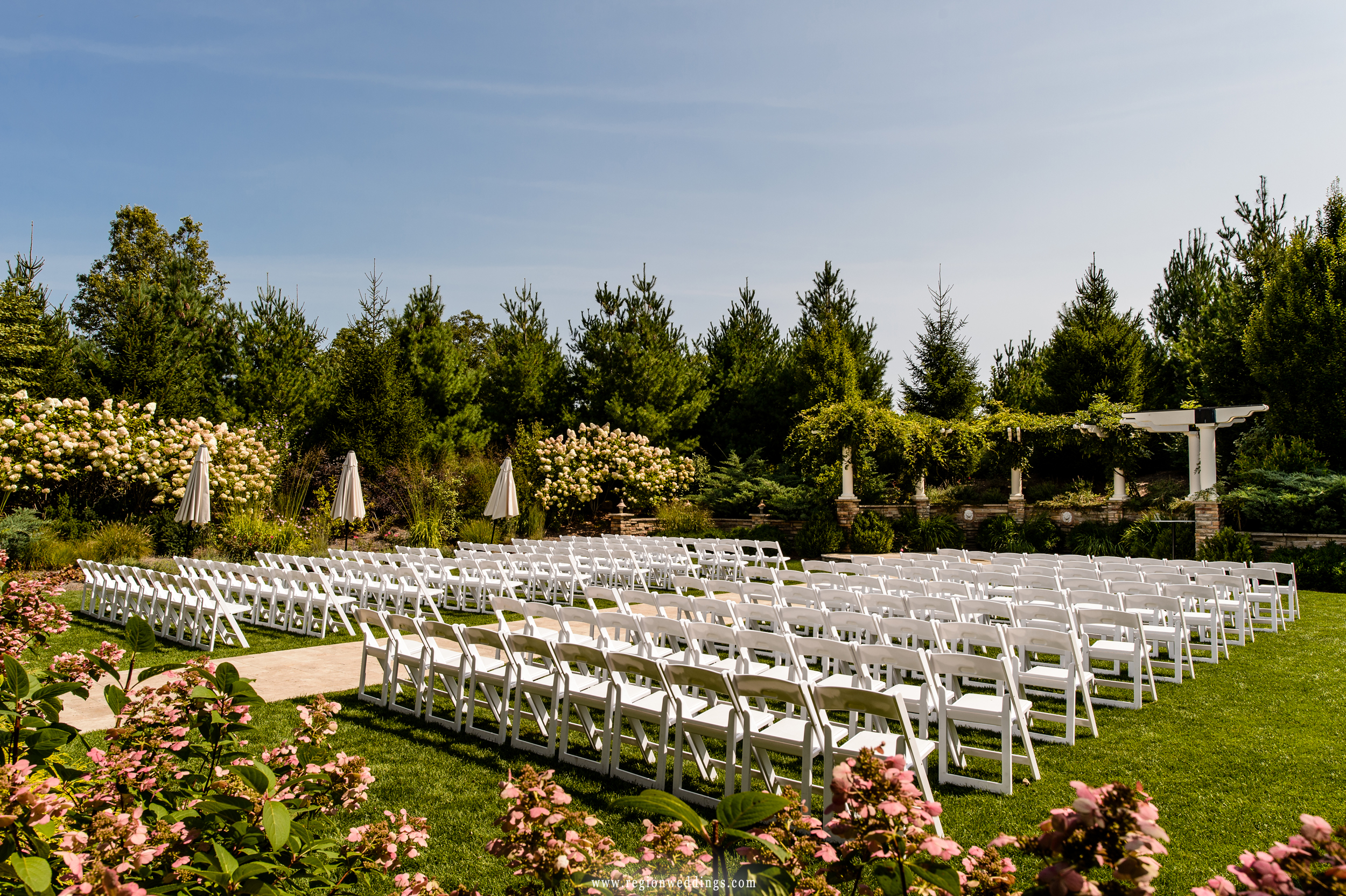 The outdoor wedding ceremony area at The Pavilion At Sandy Pines.