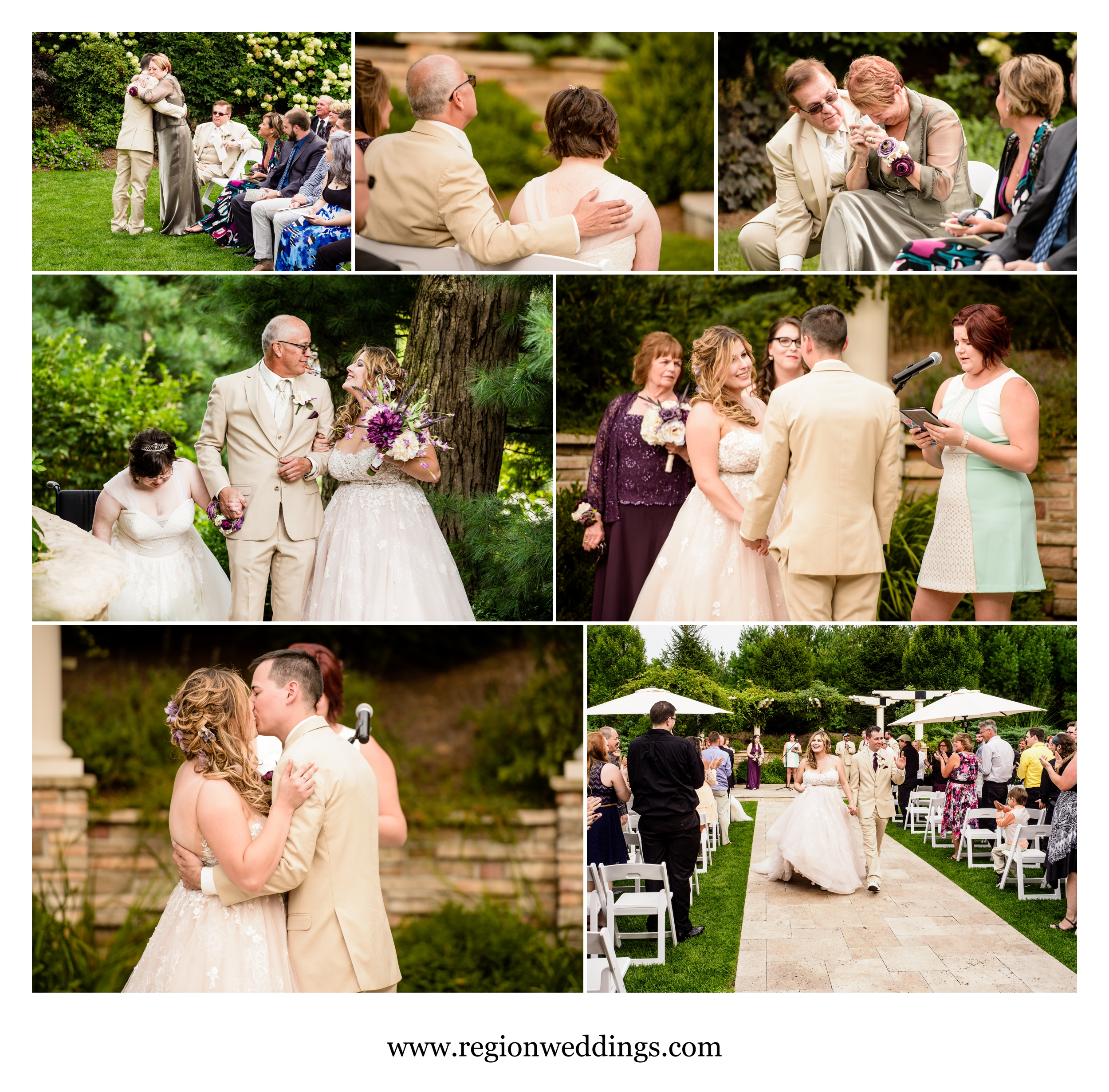 Outdoor summer wedding ceremony at Sandy Pines Golf Course.