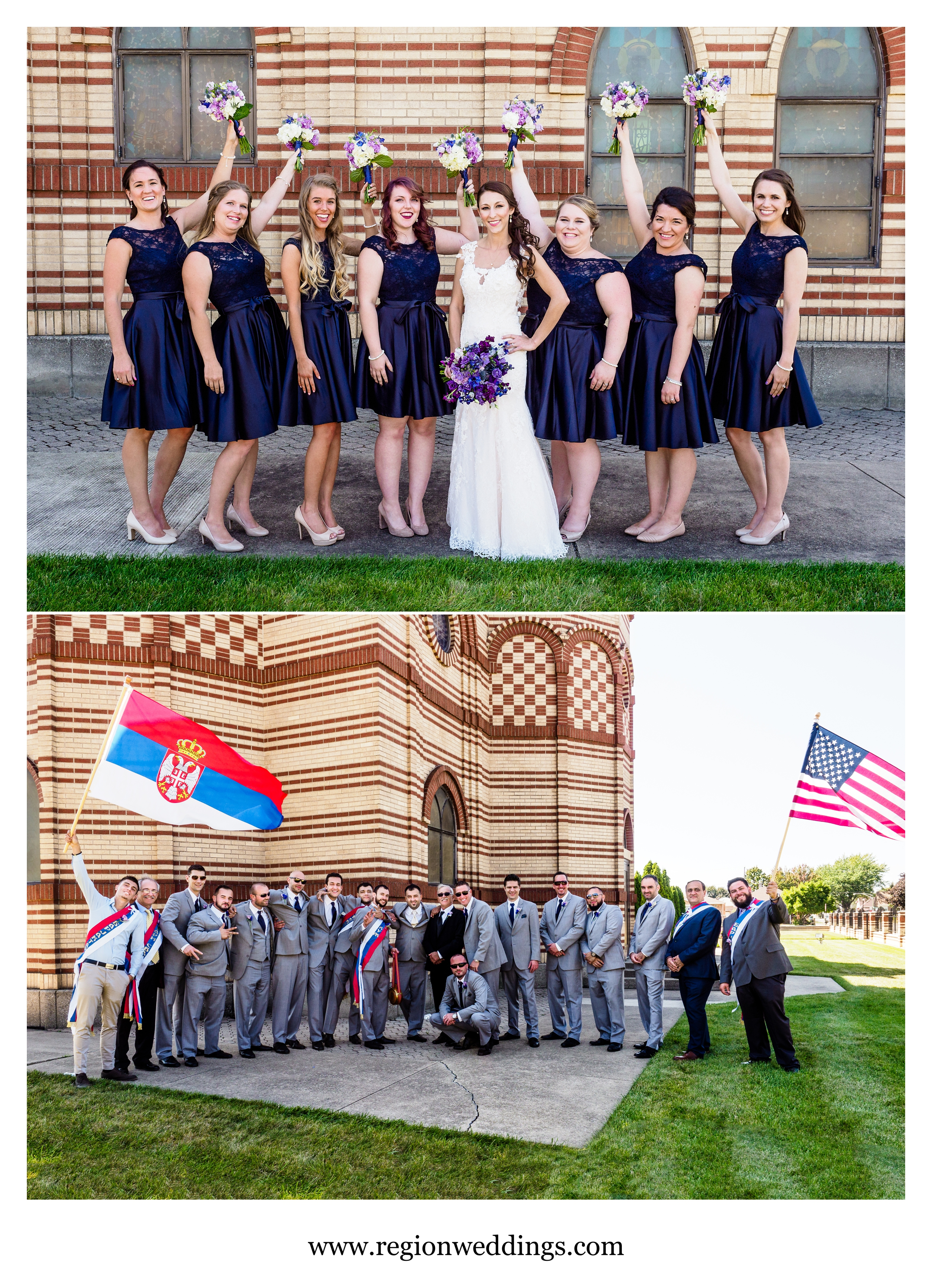 Bridesmaids and groomsmen at St. Simeon Serbian Orthodox Church in Chicago.