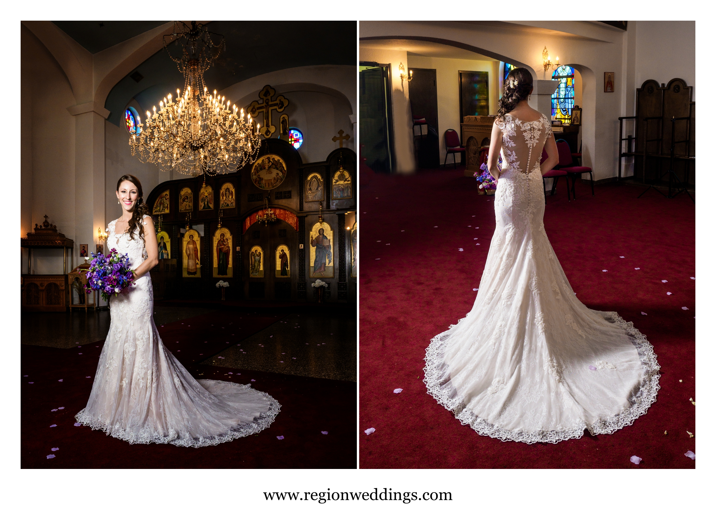 The bride shows off her dress at St. Simeon in Chicago.
