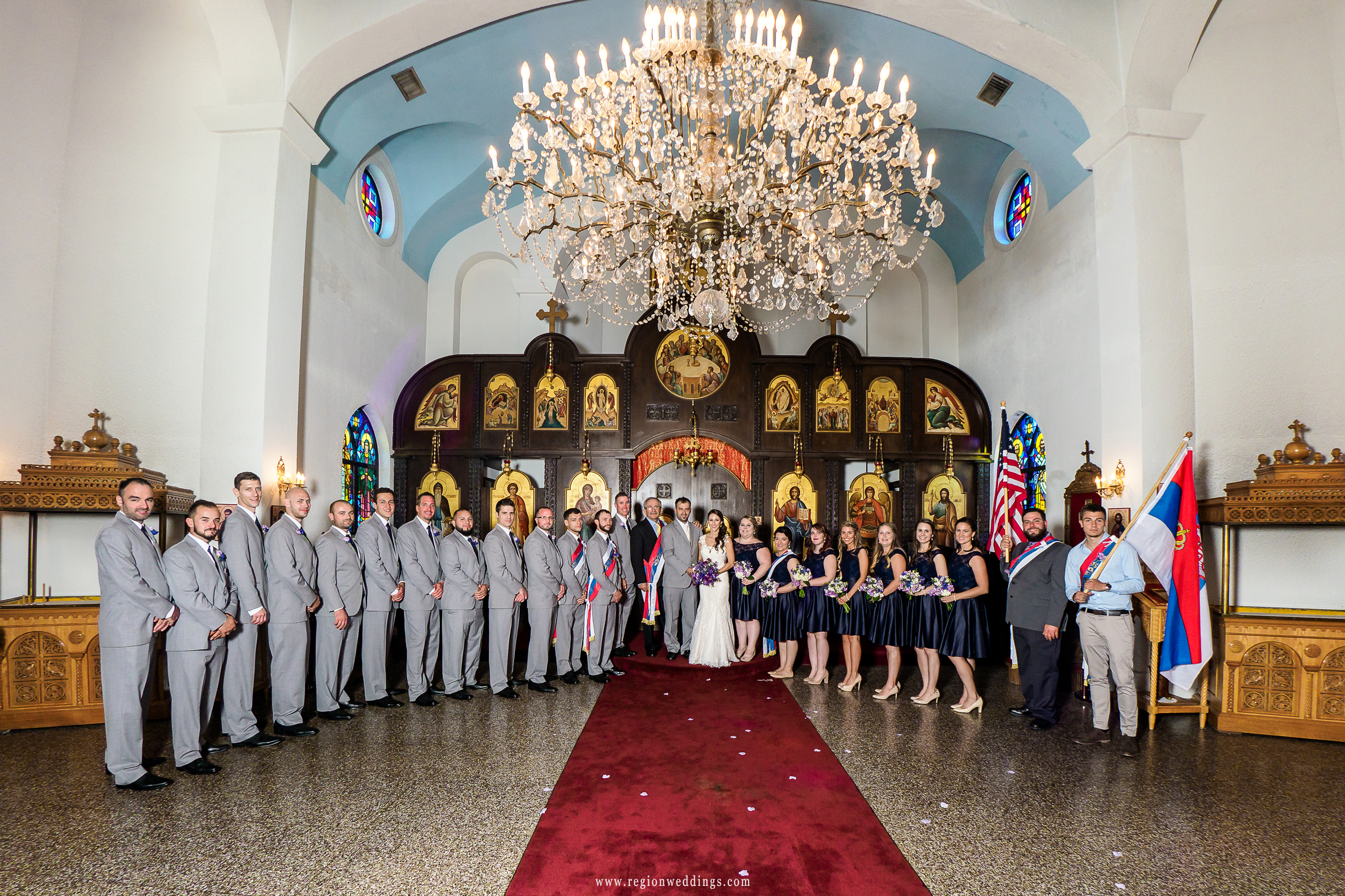 Wedding party group photo at St. Simeon Serbian Orthodox Church in Chicago, IL.