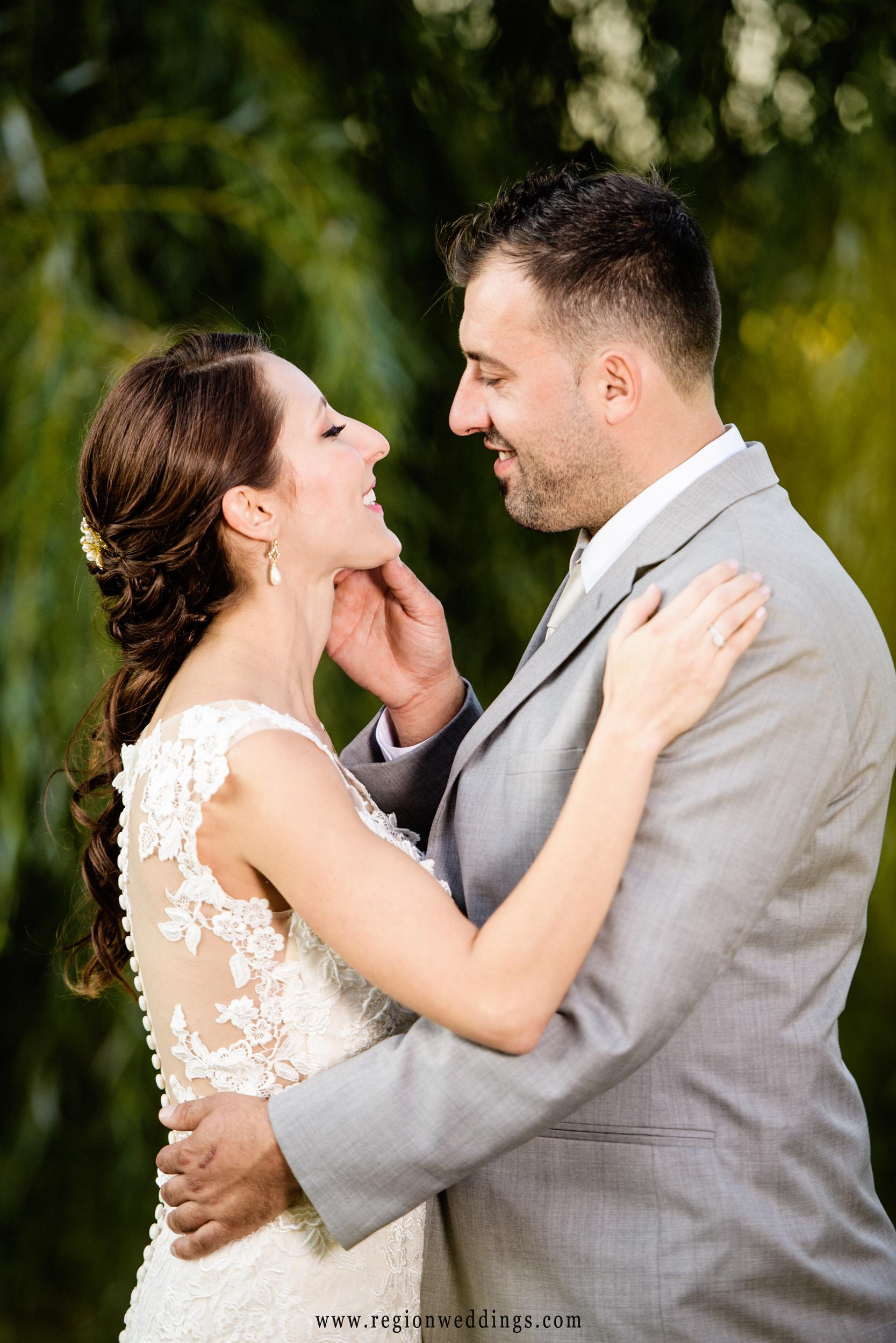 A joyous moment between bride and groom.