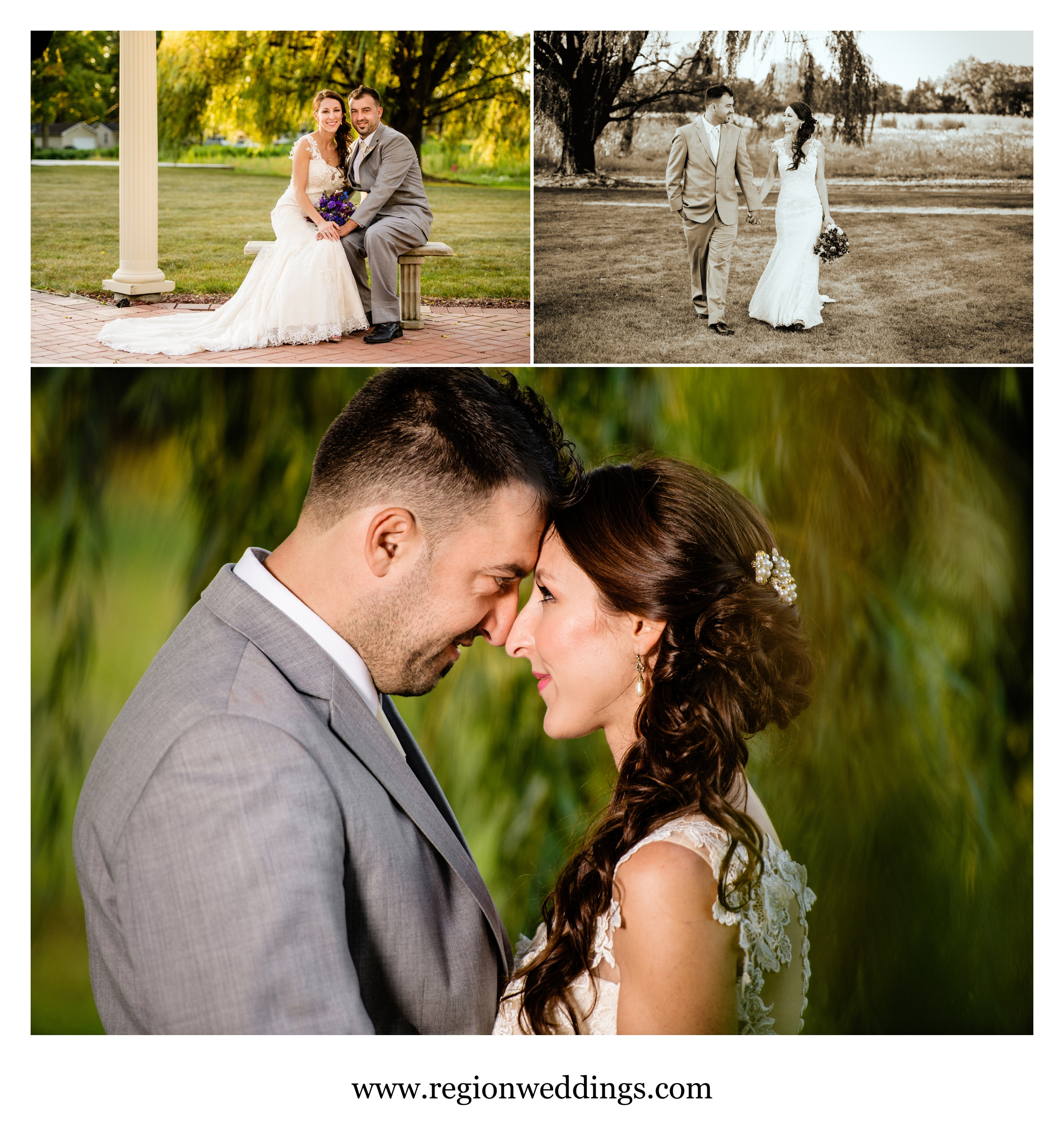 The bride and groom together in some romantic wedding photos after their September wedding.