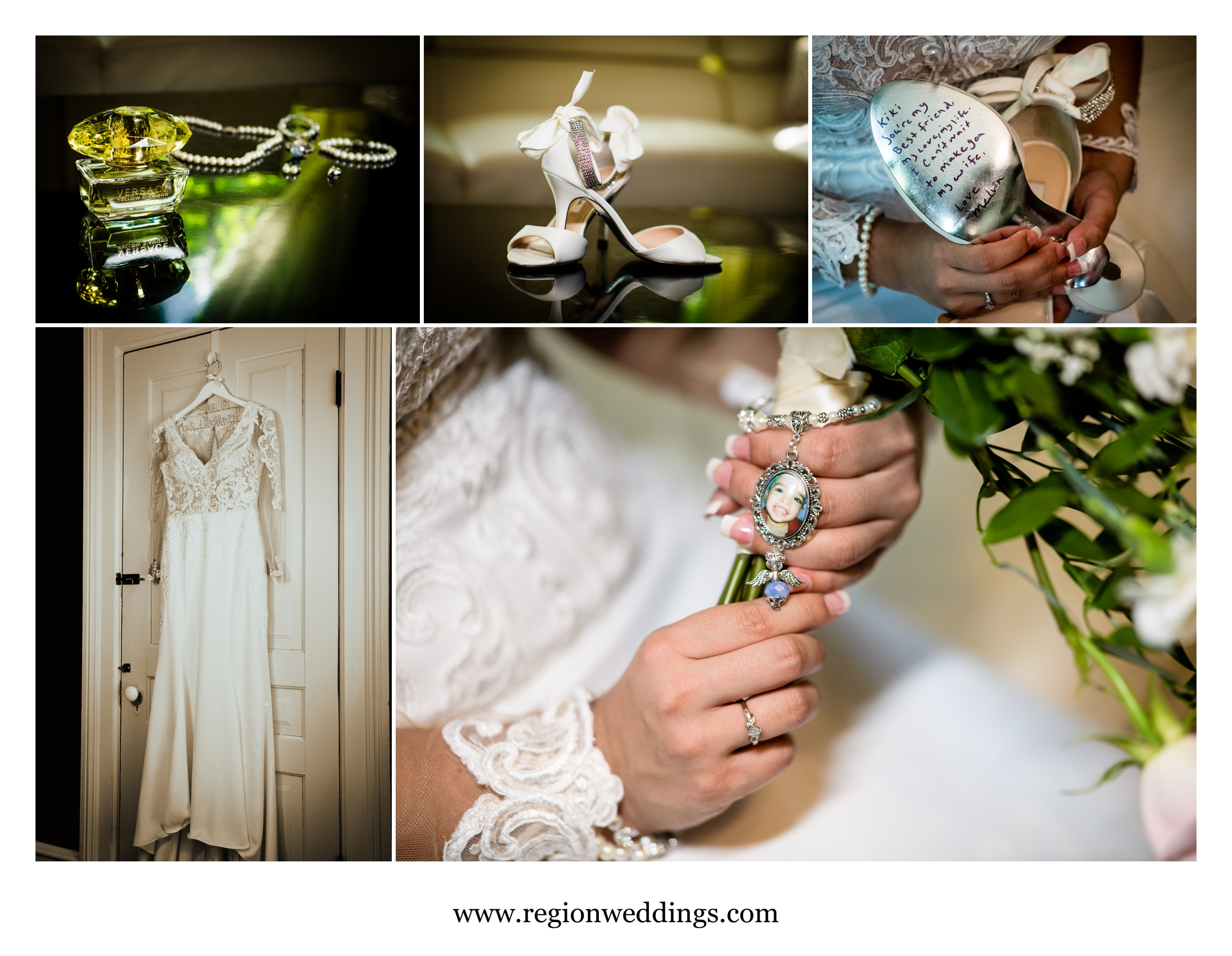 Bridal details at the Uptown Center bridal suite.