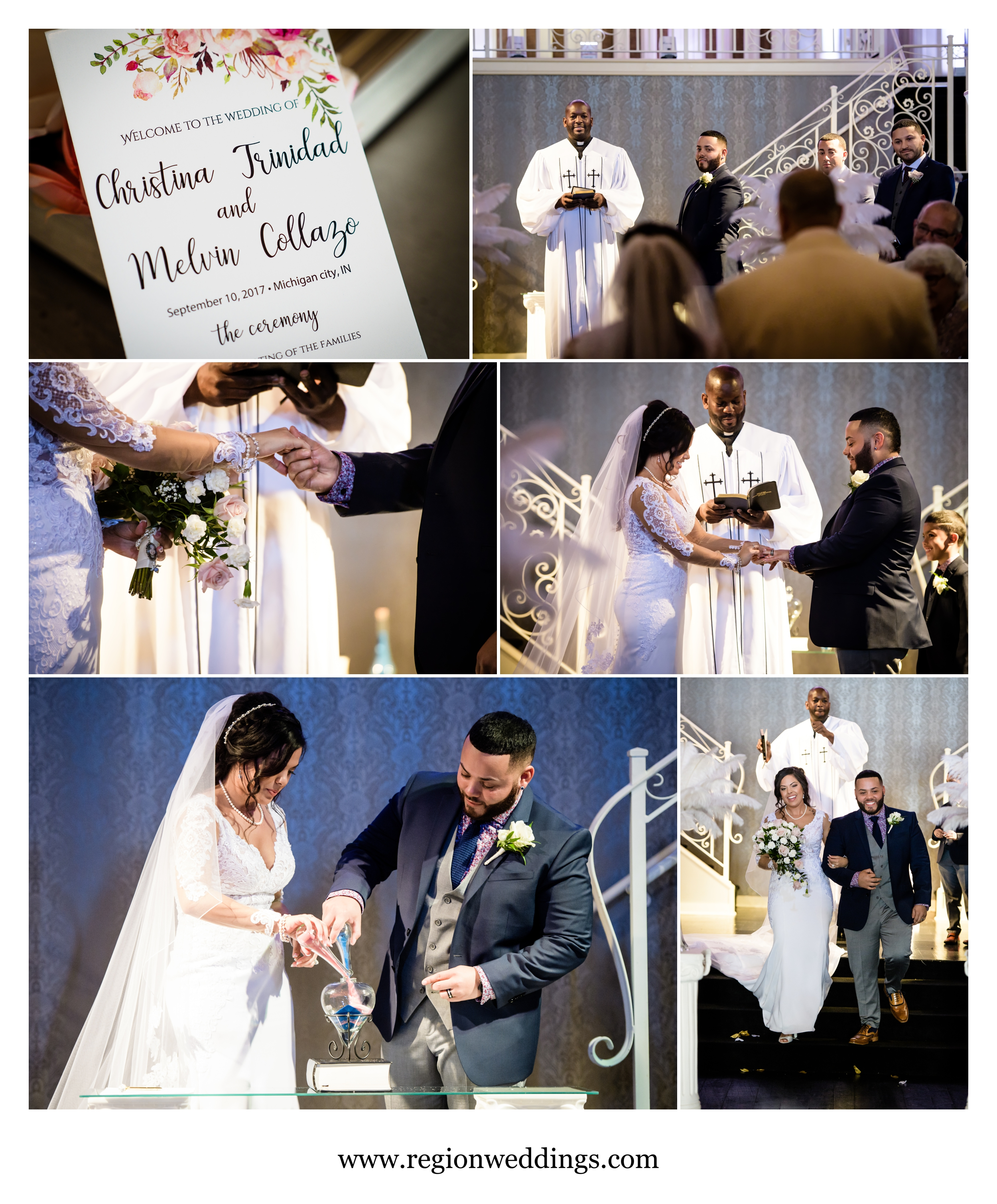 A September wedding ceremony at Uptown Center in Michigan City, Indiana.