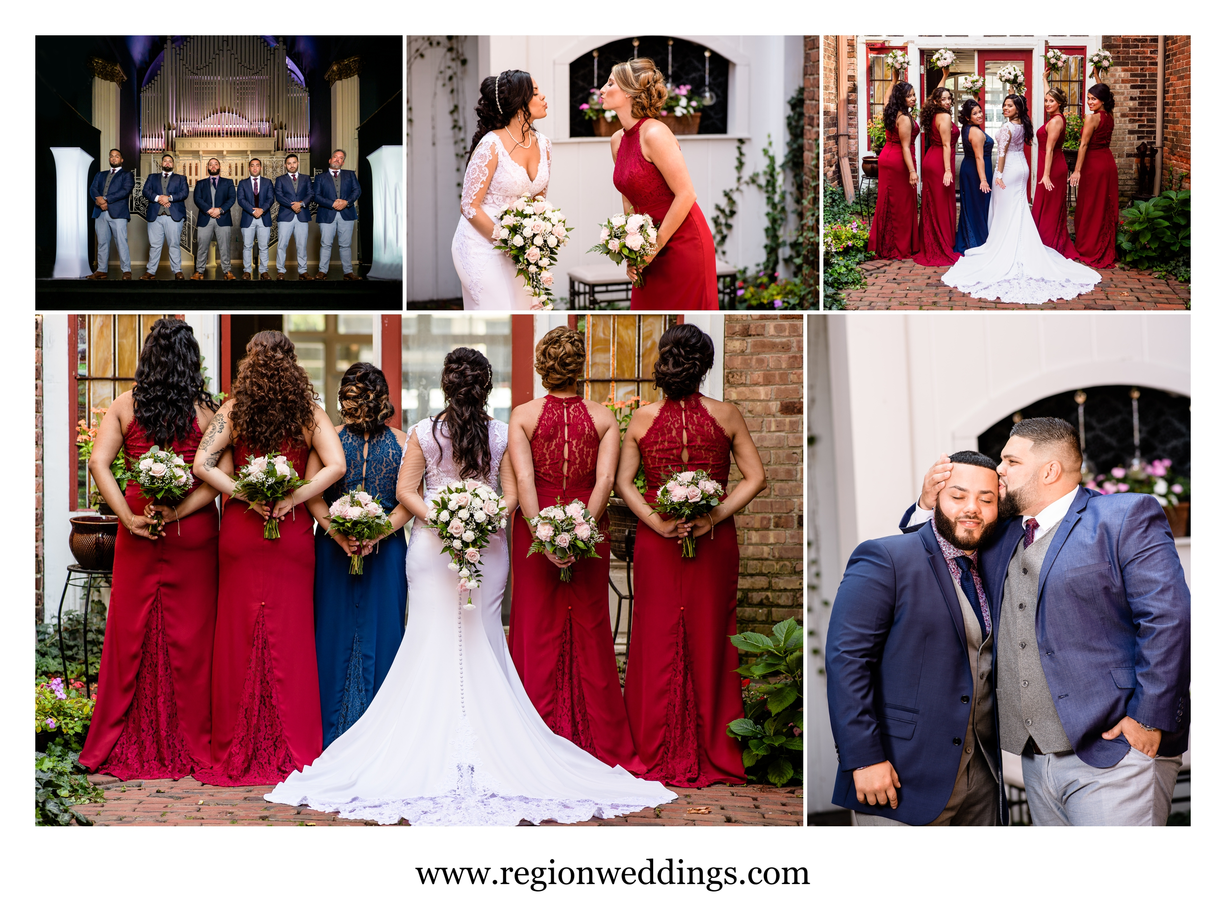 Wedding party photos in the courtyard at Uptown Center.