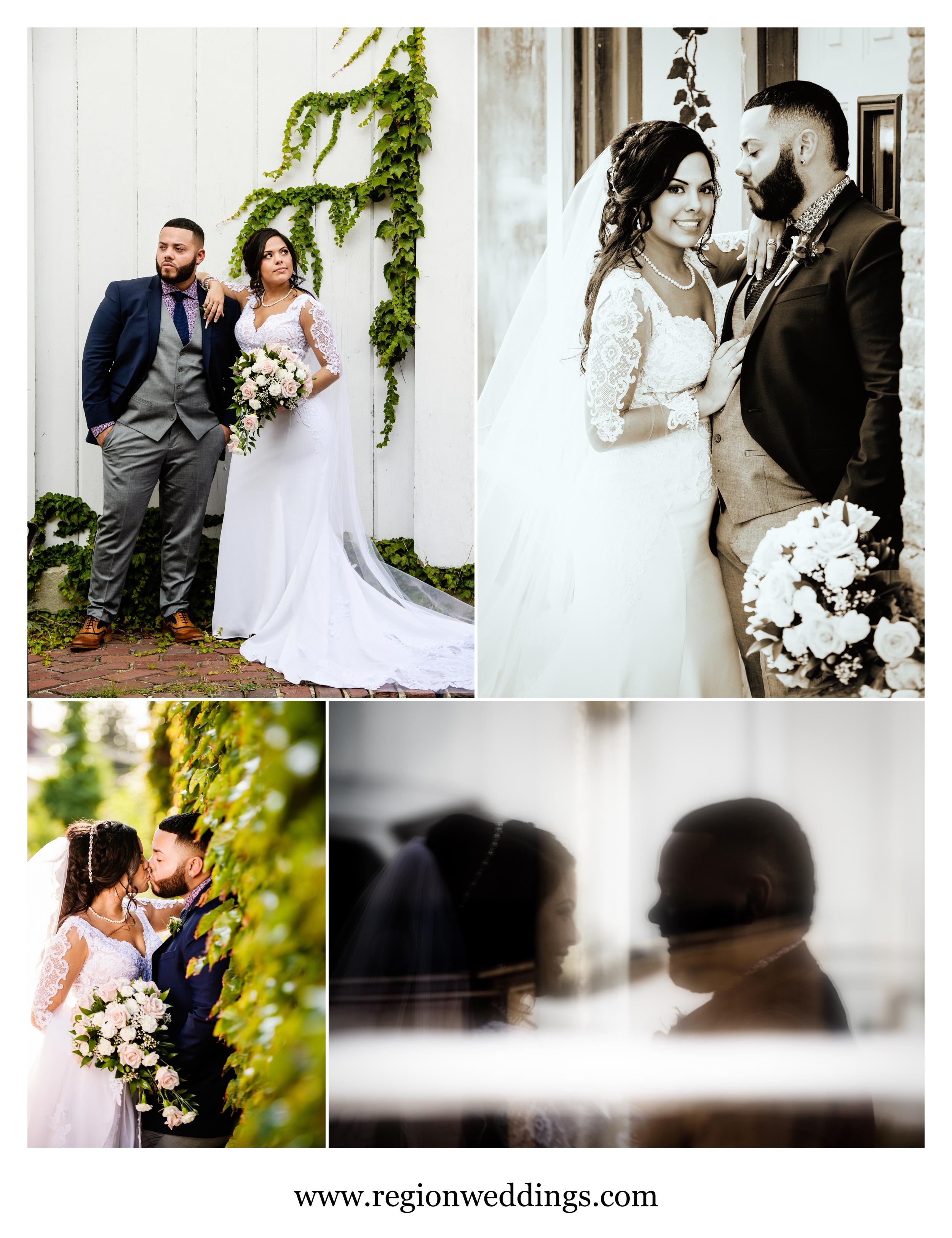 Wedding photos in downtown Michigan City.