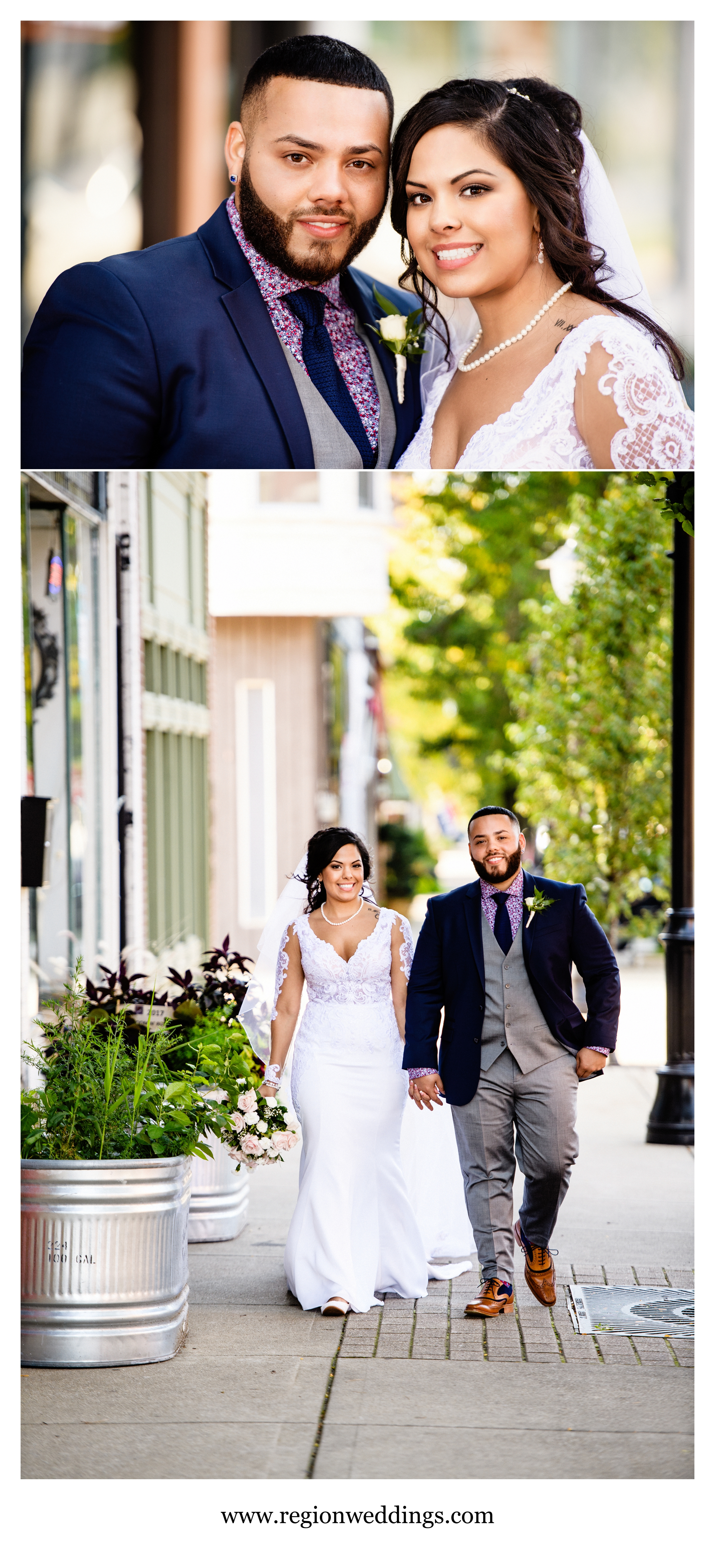 The bride and groom show off their happiness as they walk the city streets.