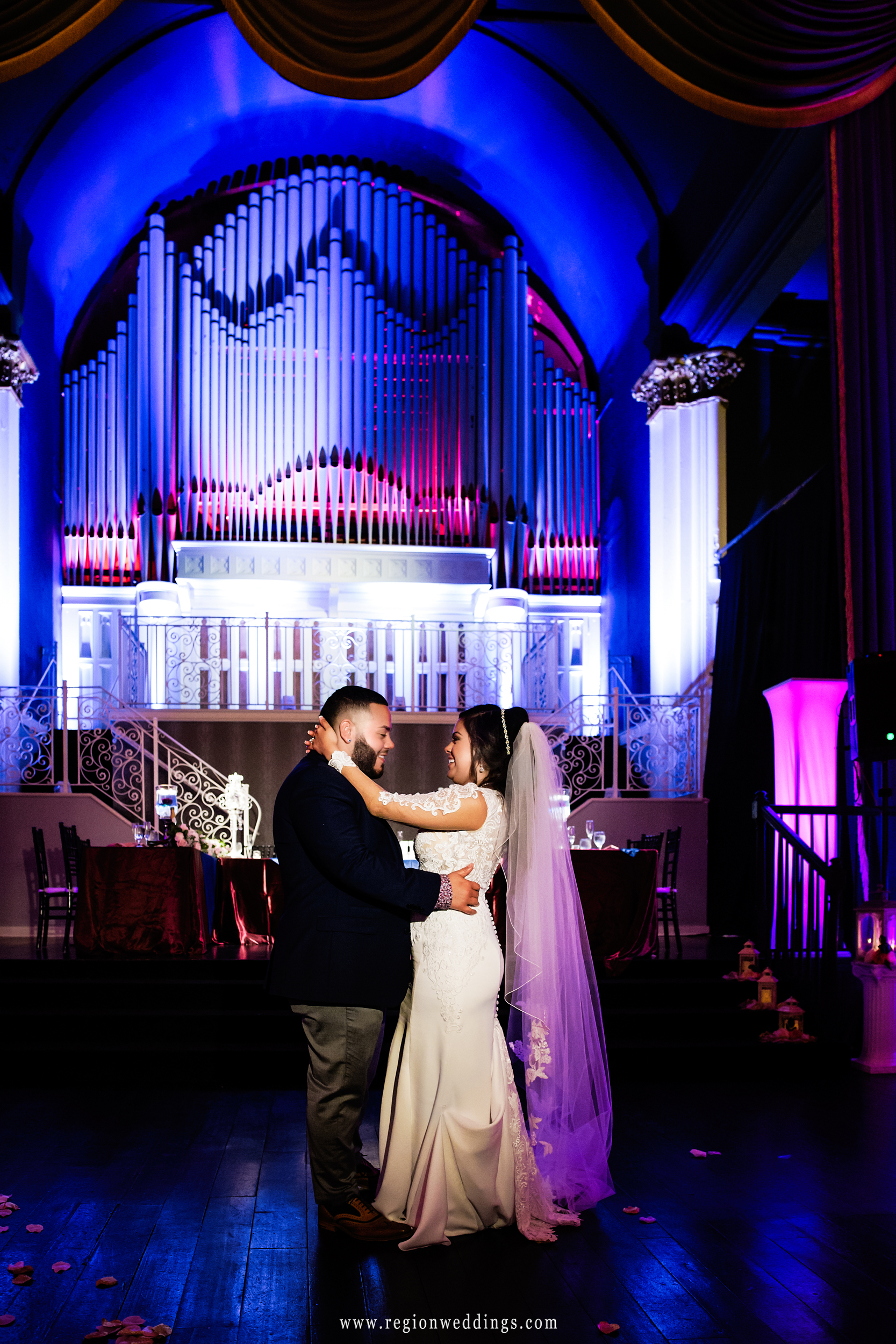 Bride and groom first dance at the spectacular ballroom in Michigan City.
