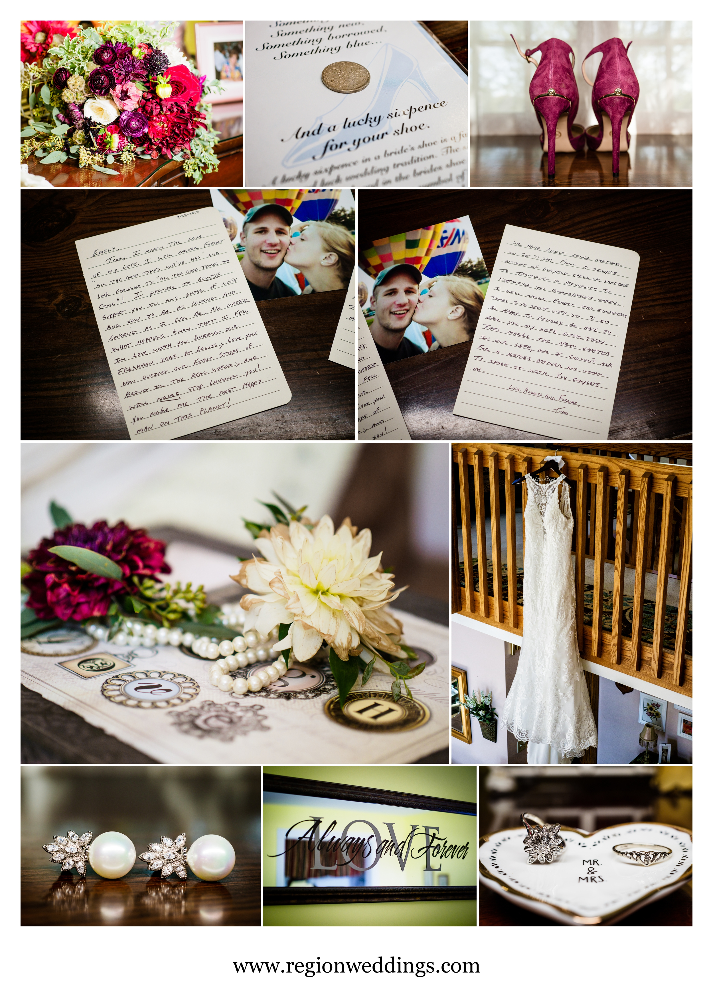Bridal details at the bride's childhood home on wedding day.