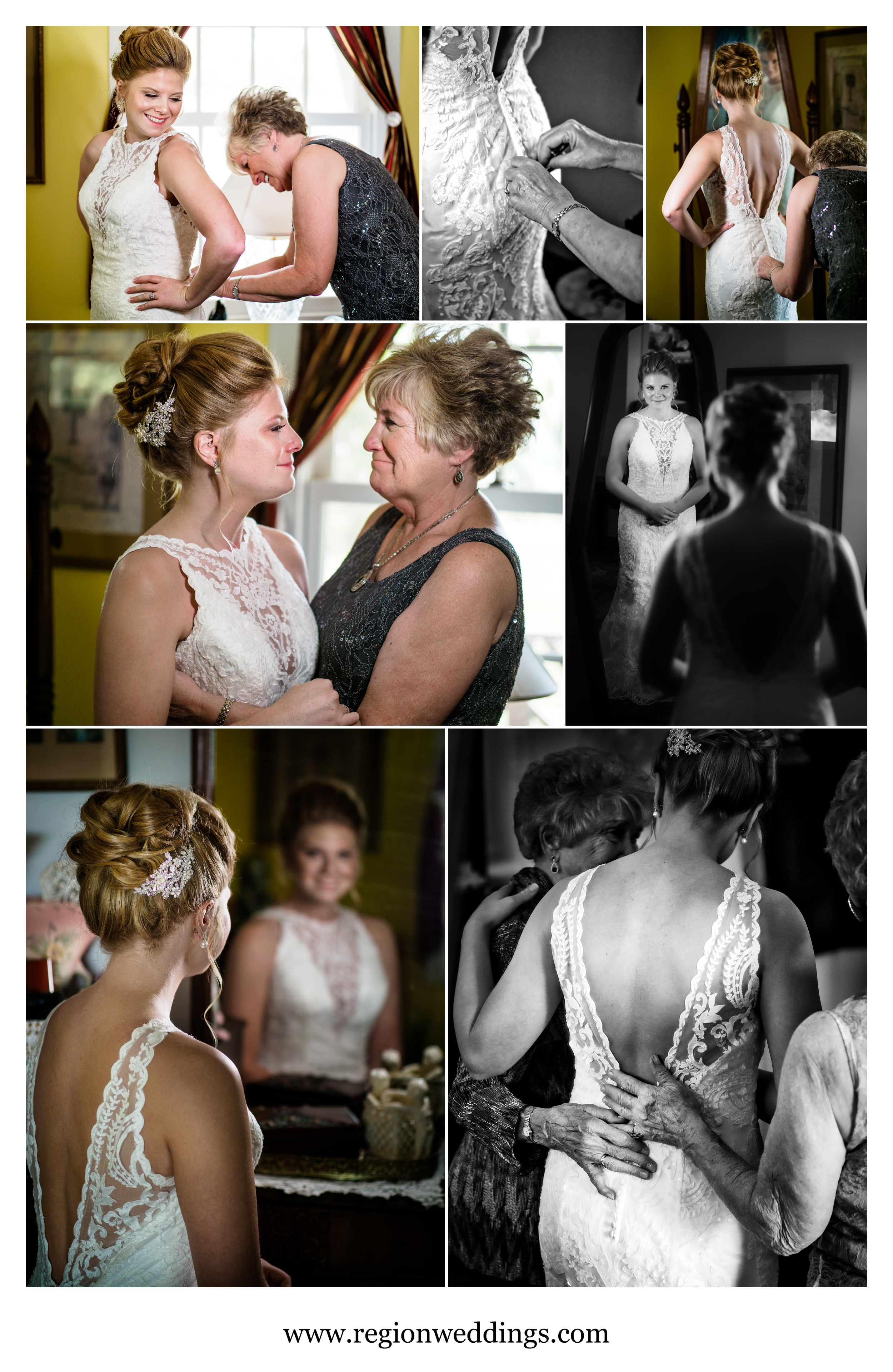 Mother of the bride assists her daughter on wedding day.