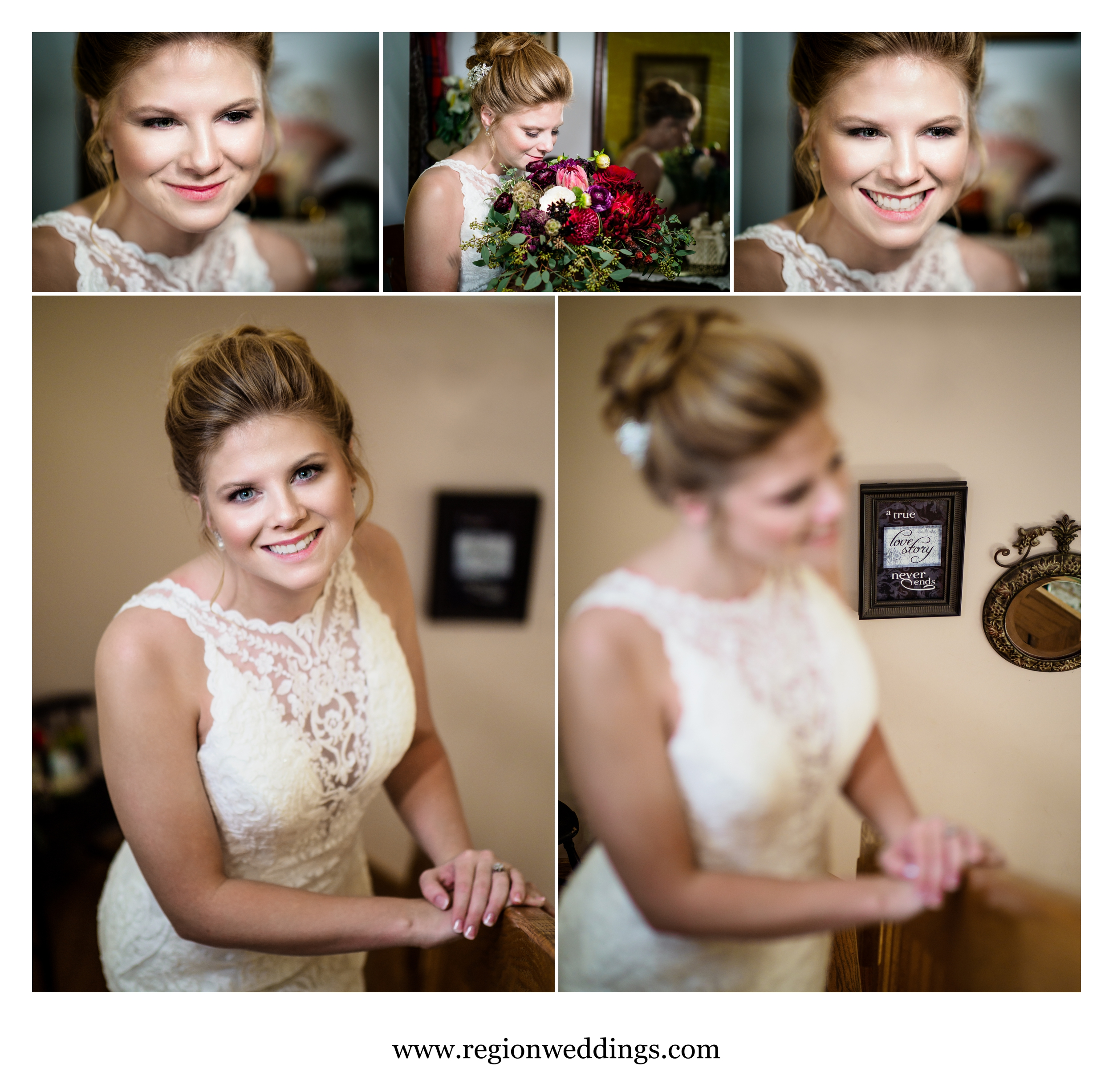 Portraits of the bride at her childhood home.