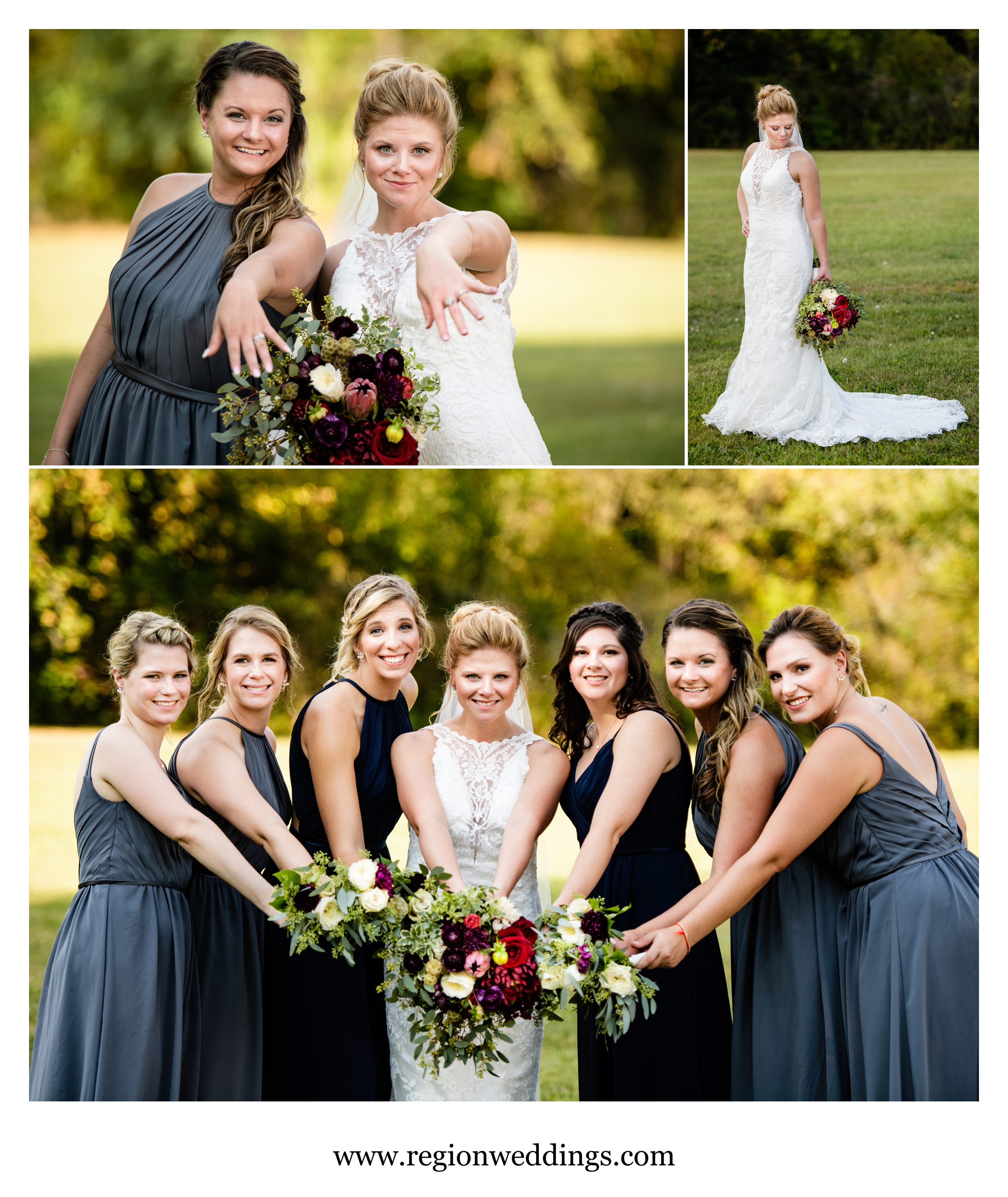 Bridesmaids in an Indiana field.