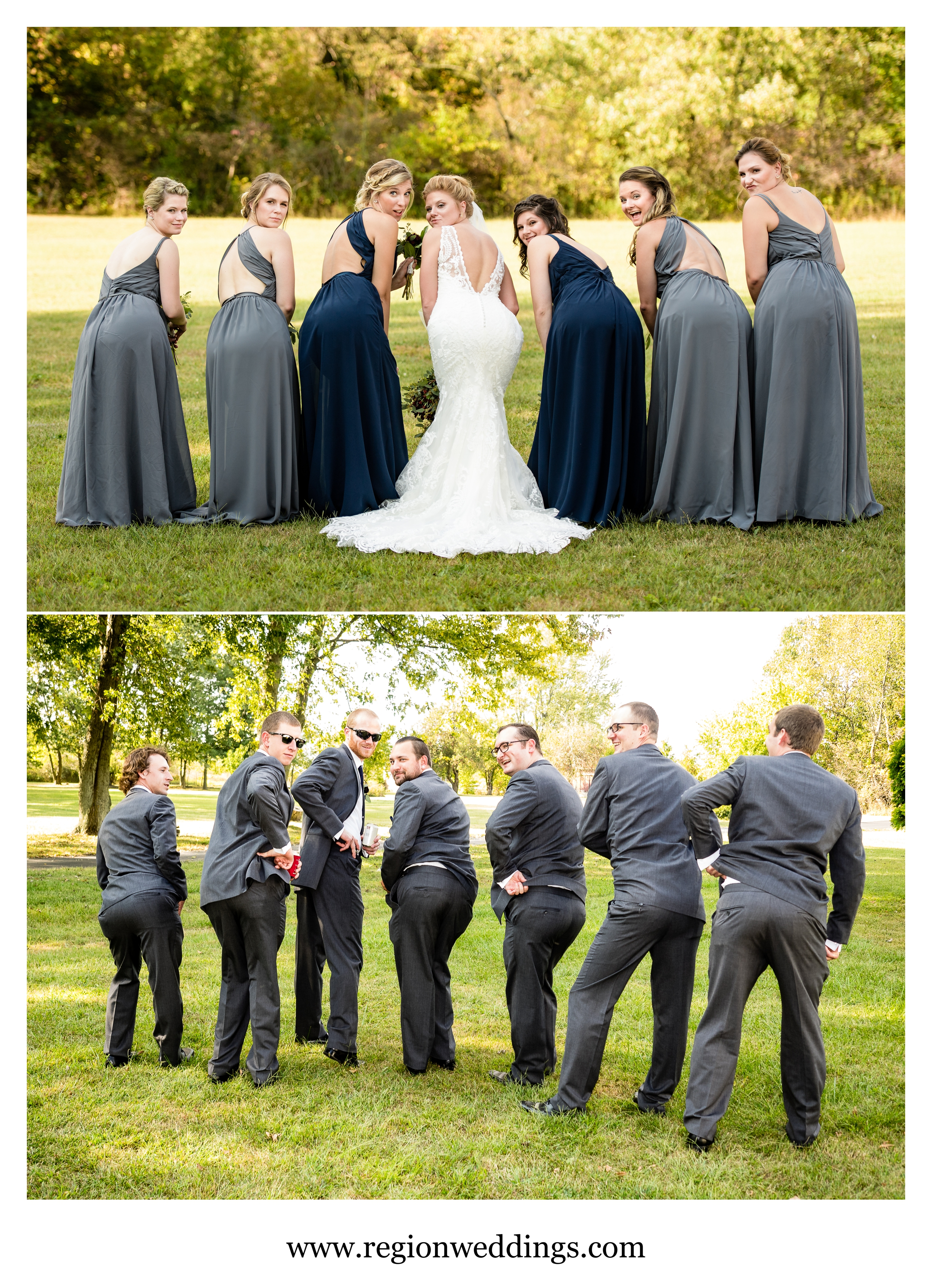 Too sexy for their suits - the groomsmen try to show up the bridesmaids.