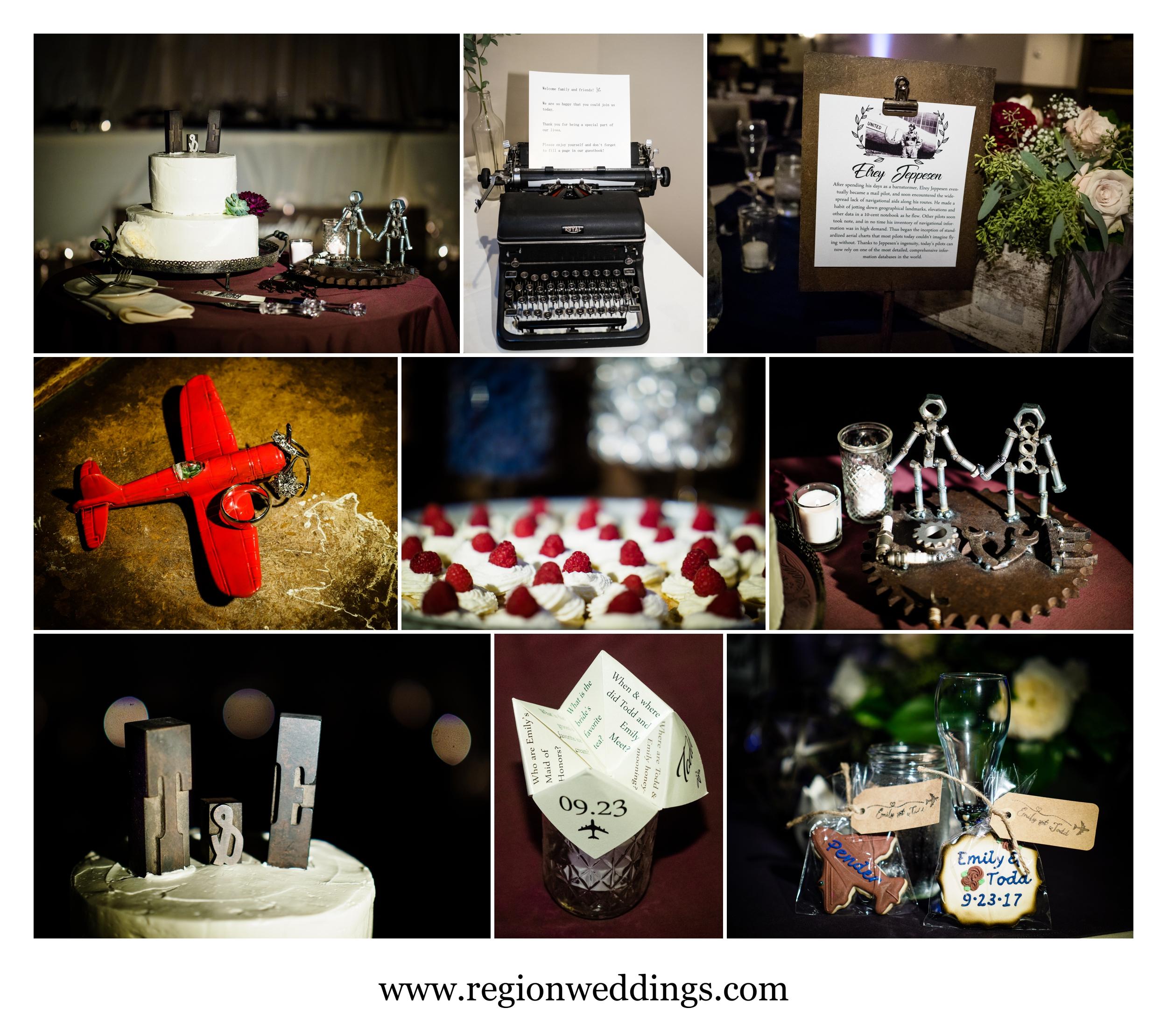 Aviation themed wedding decor.