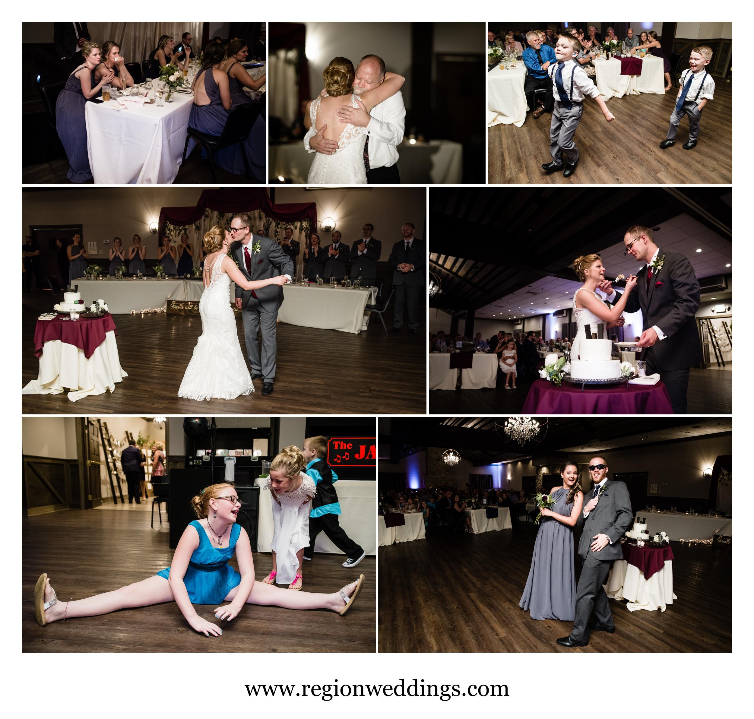 Wedding reception moments at The Market in Valparaiso, Indiana.