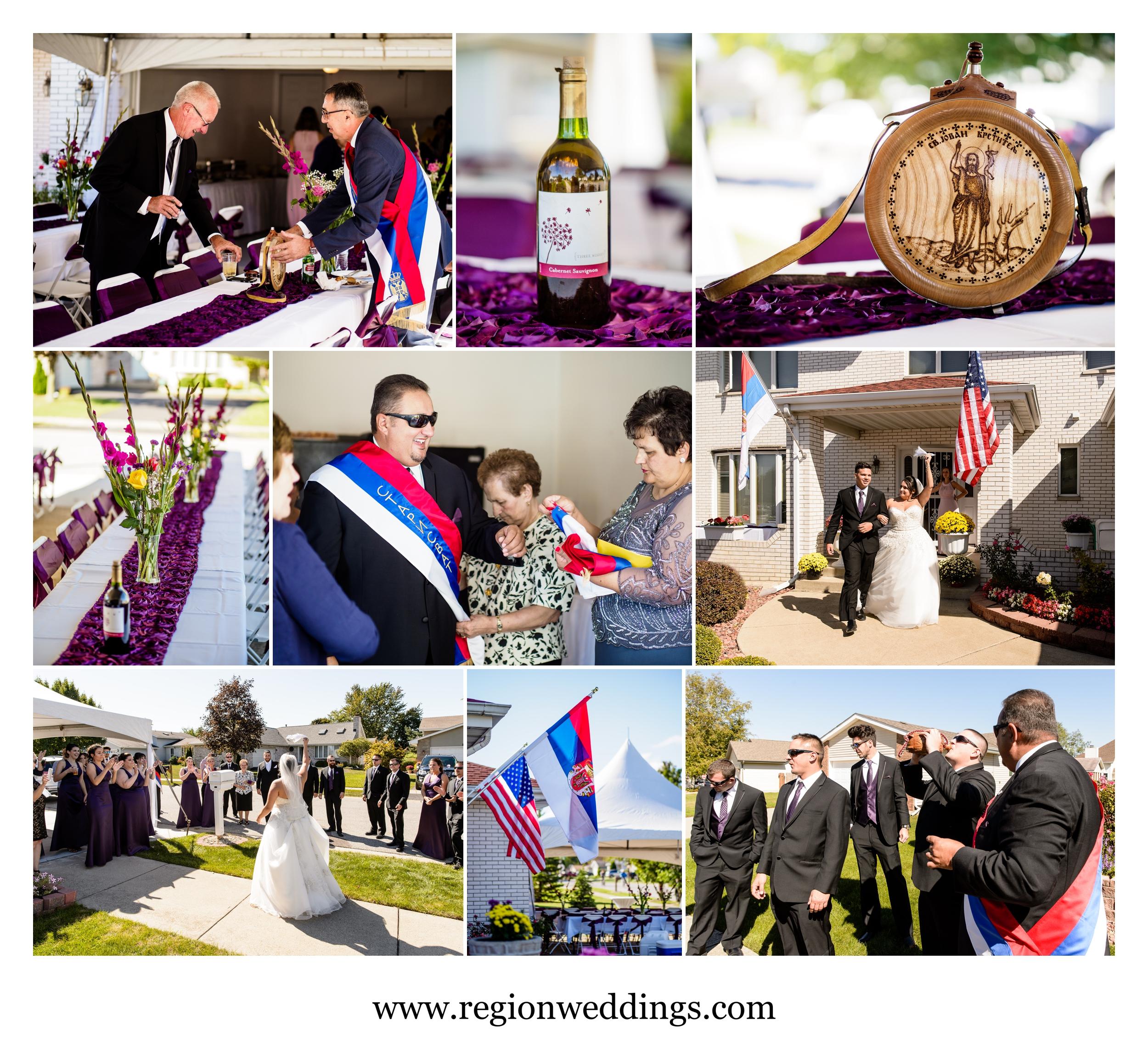 Pre-ceremony celebration at a Serbian wedding.