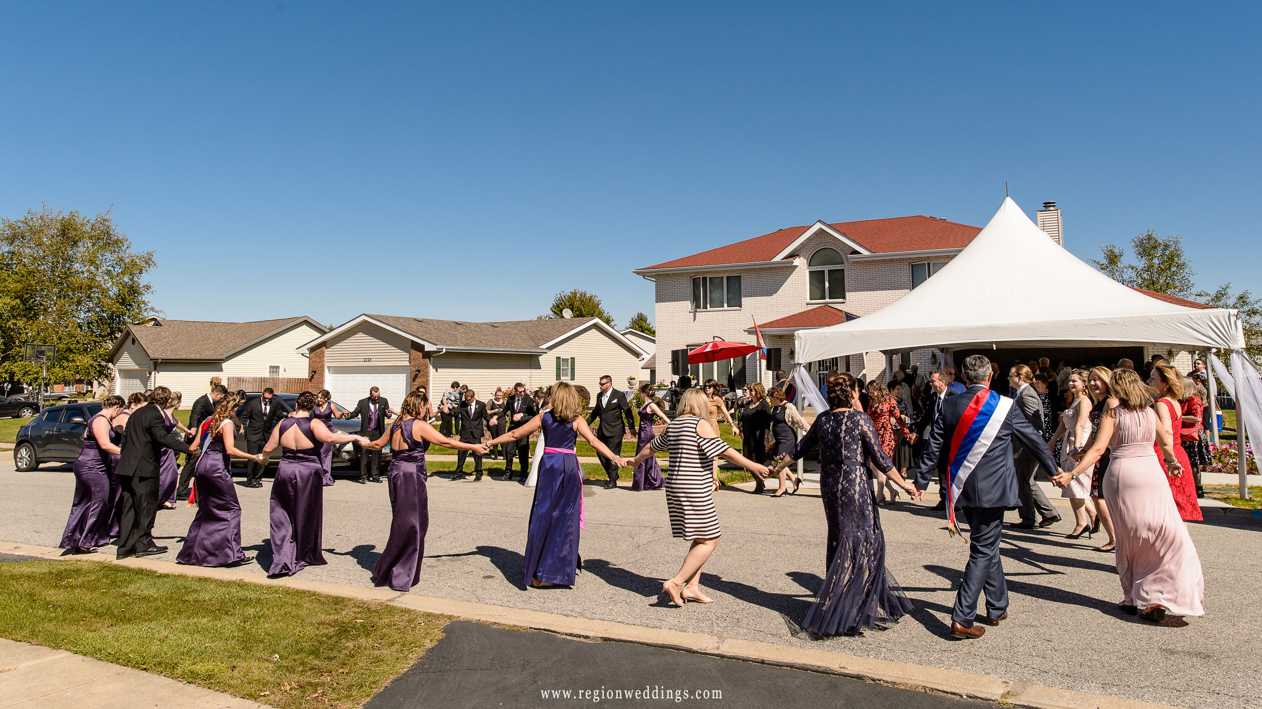 Circle of life celebration dance at a Serbian wedding.