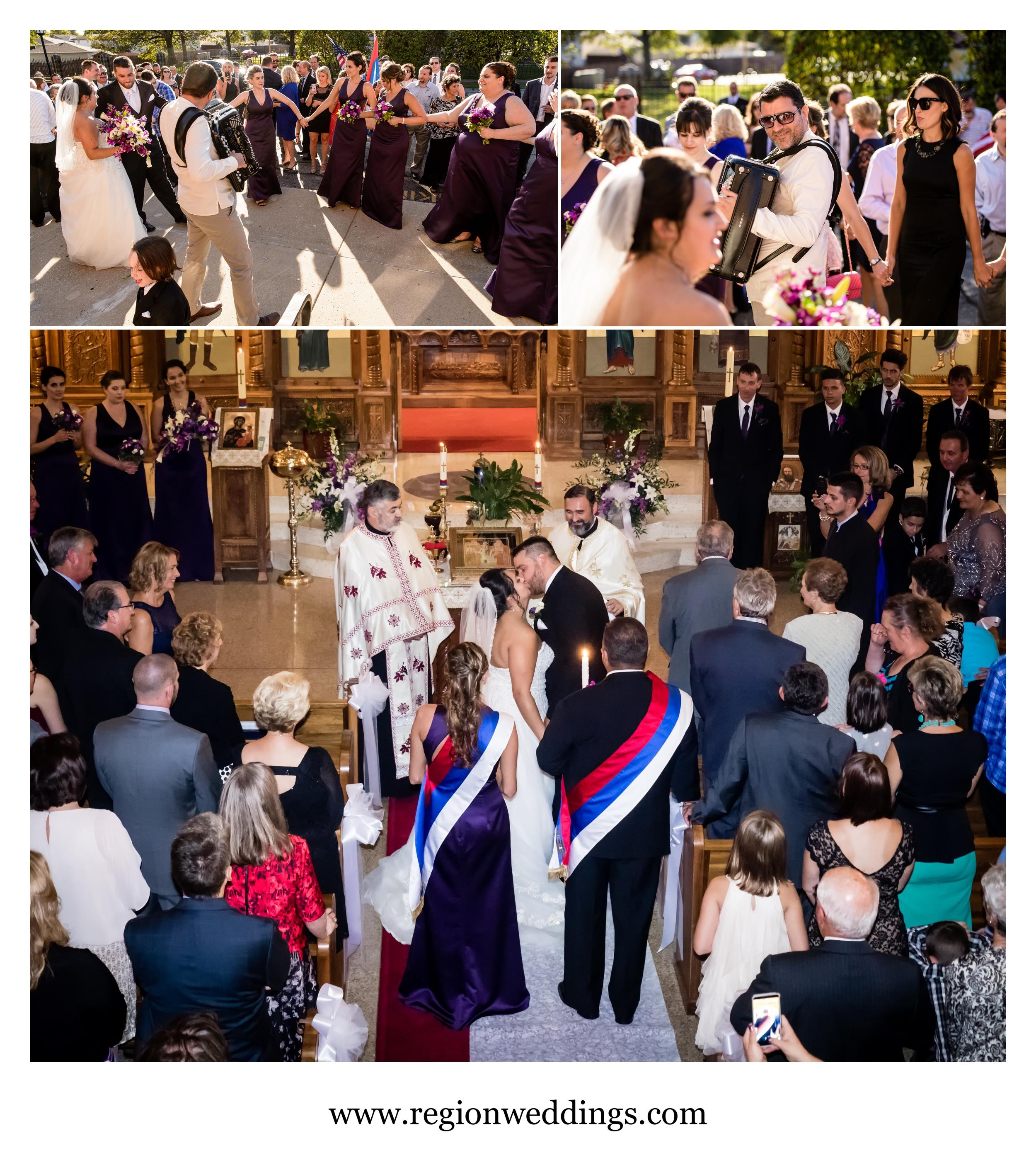 Post ceremony celebration at a Serbian wedding.
