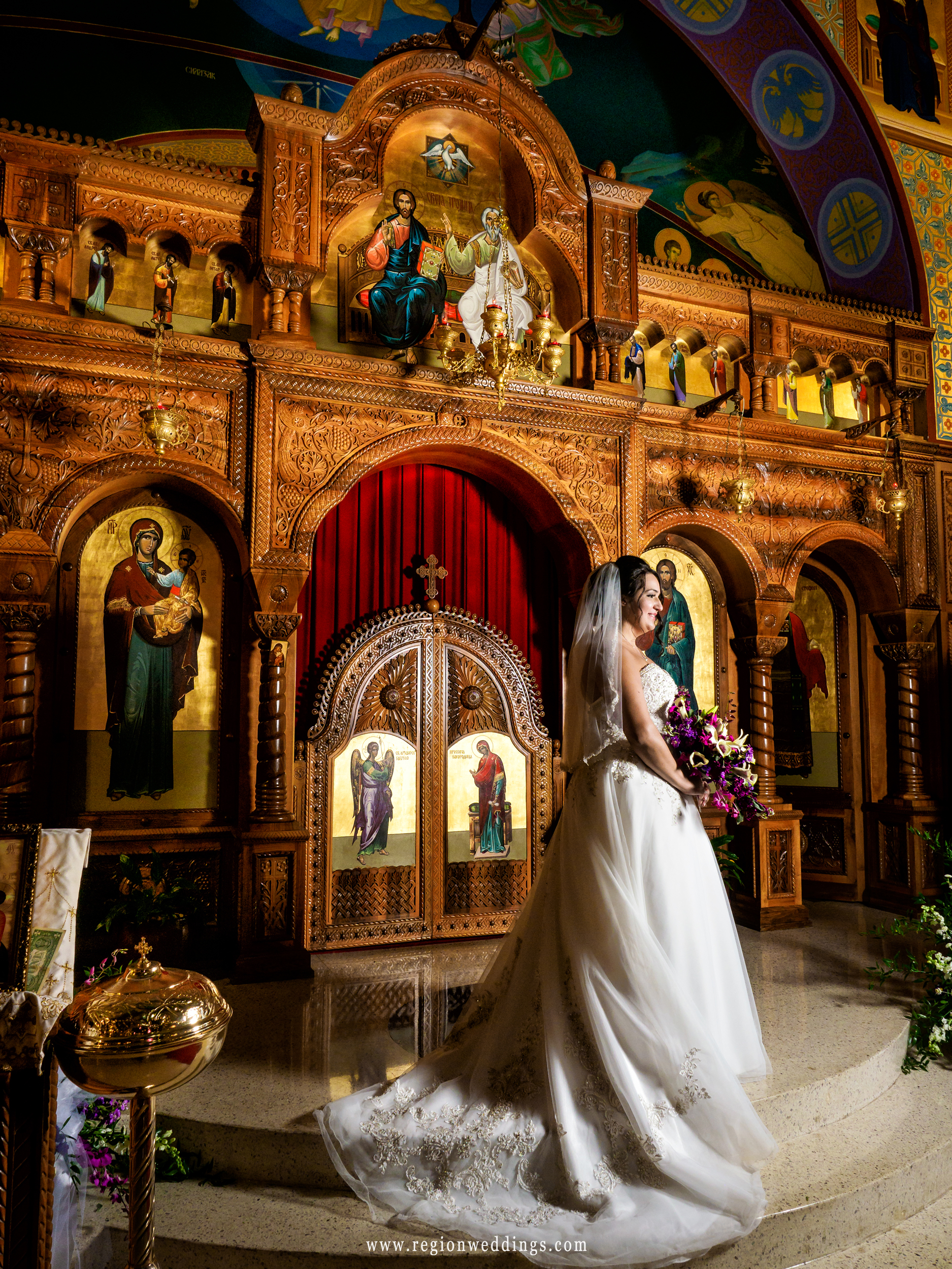 Bride at the altar at St. George's Church in Schererville, Indiana.