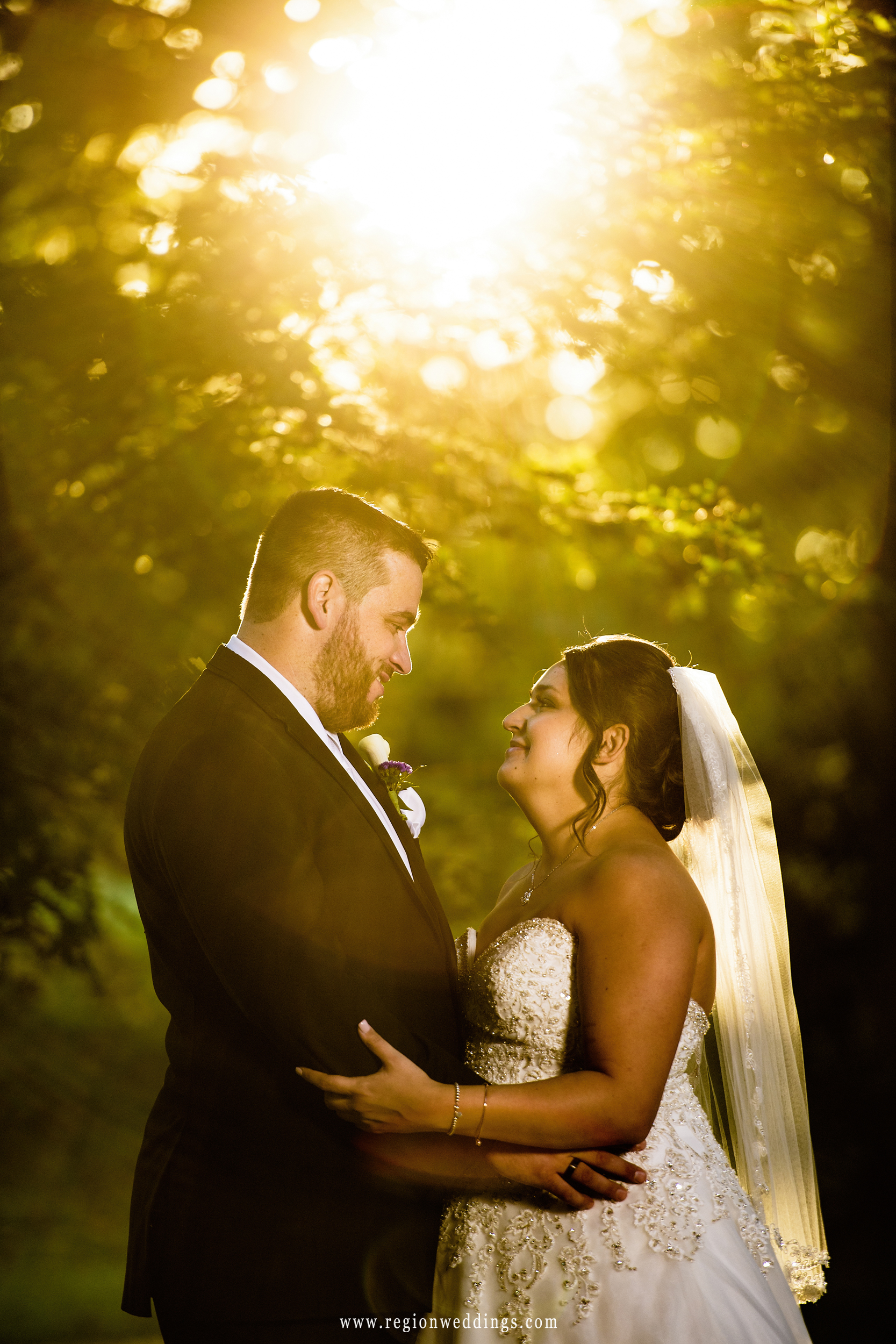 Golden sun flare surrounds the bride and groom.