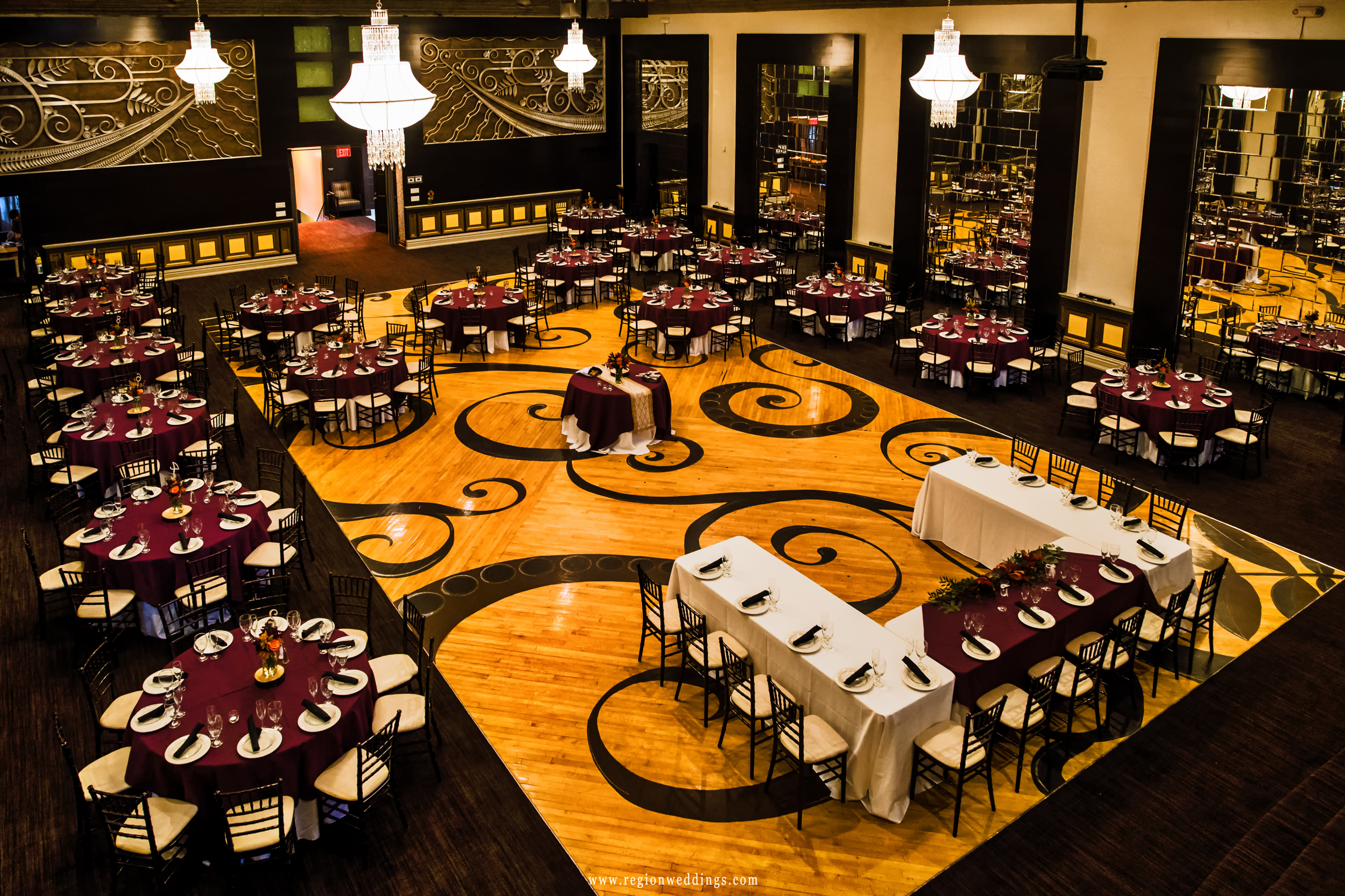 The Allure ballroom decorated for a Fall wedding.