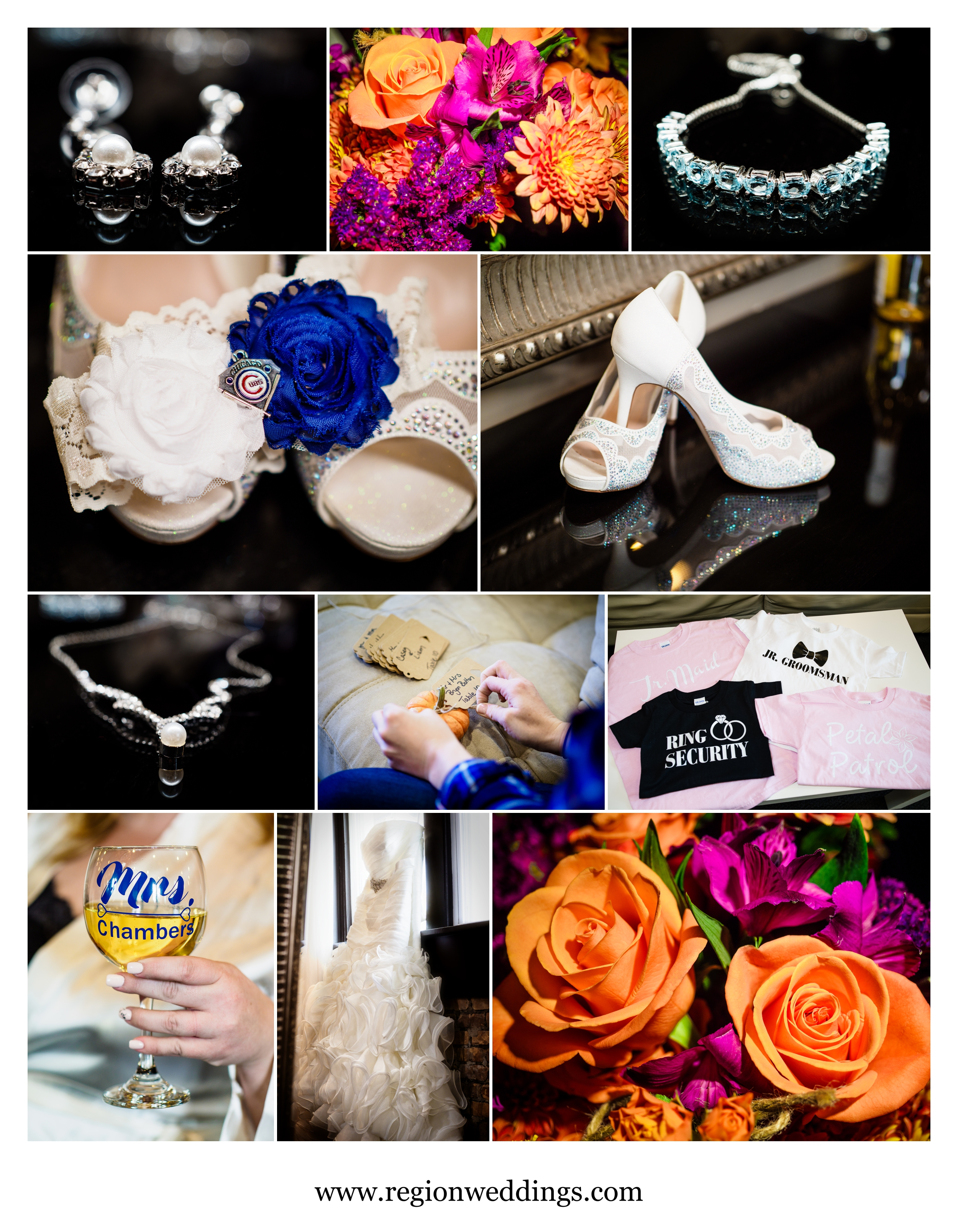 Bridal details at The Allure in Laporte, Indiana.