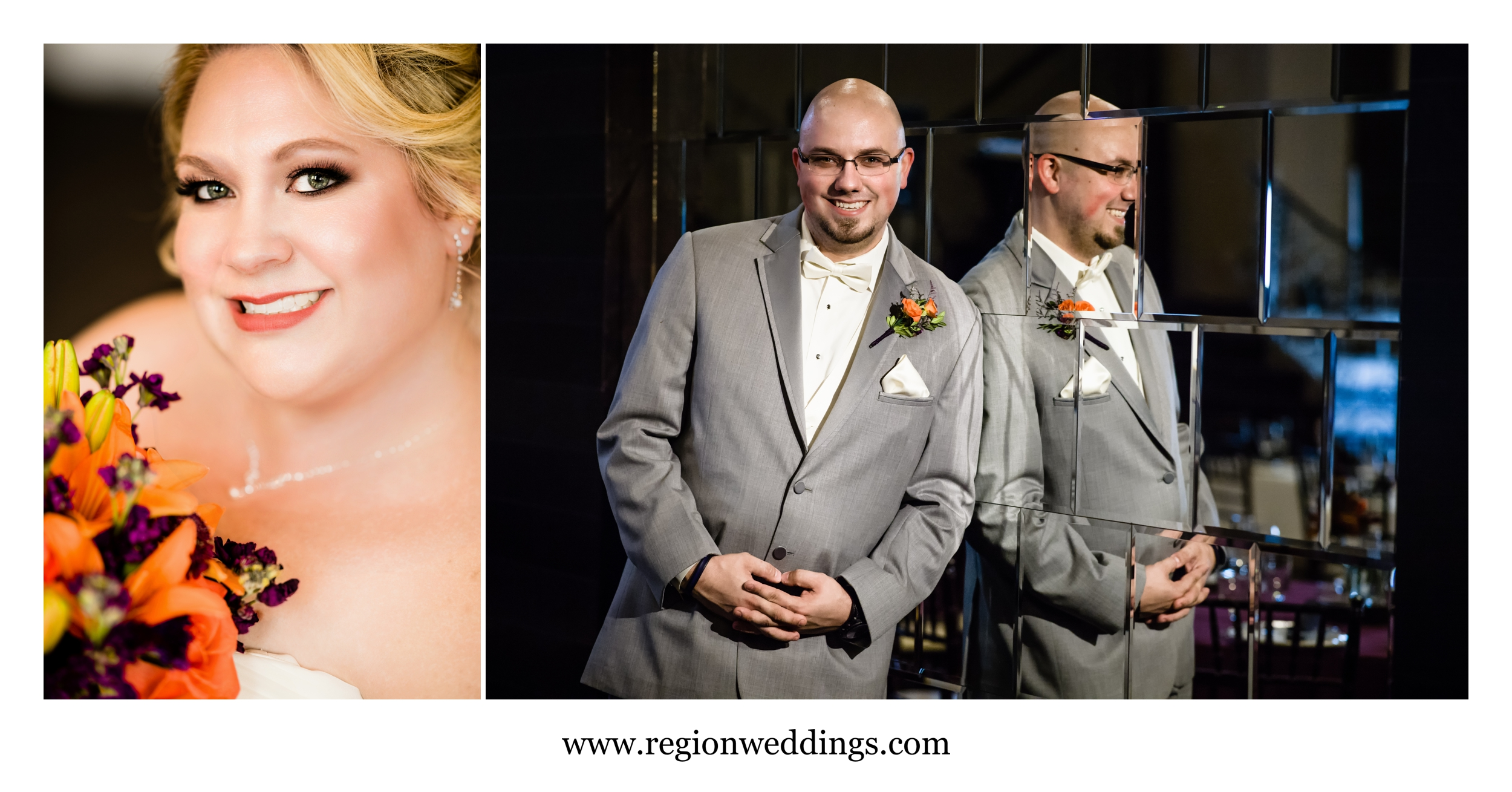 Bride and groom solo portraits at The Allure.