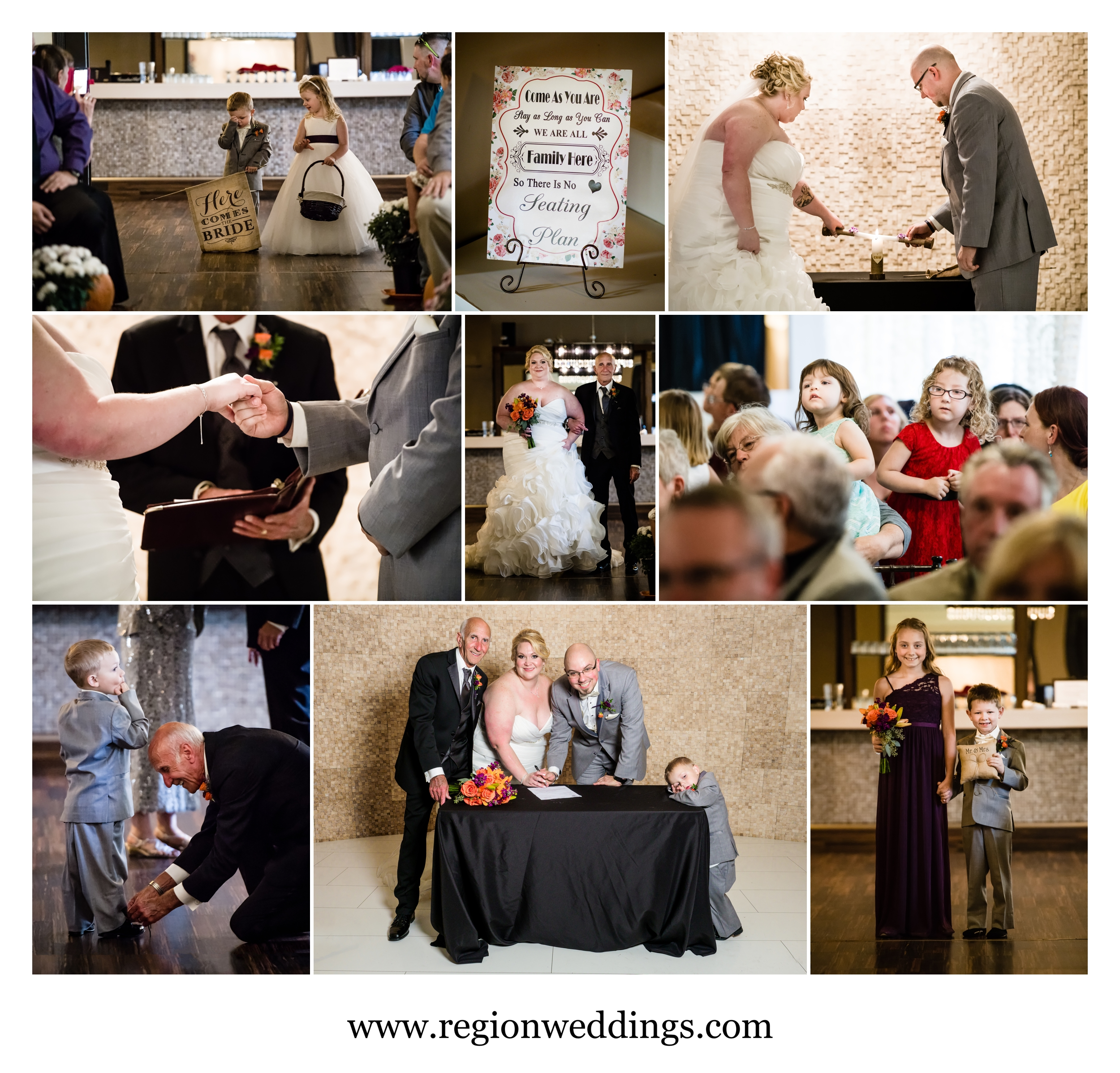 Wedding ceremony at The Allure in Laporte, Indiana.