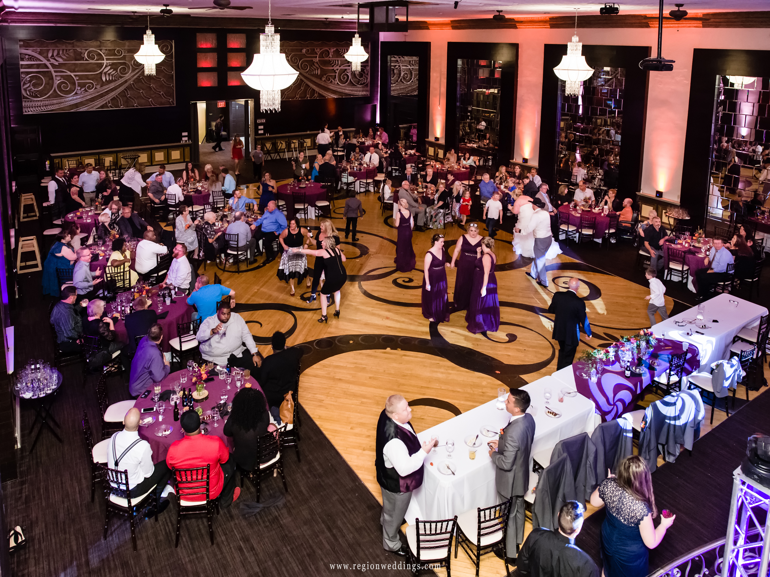 Wedding reception from the balcony at The Allure in Laporte, Indiana.