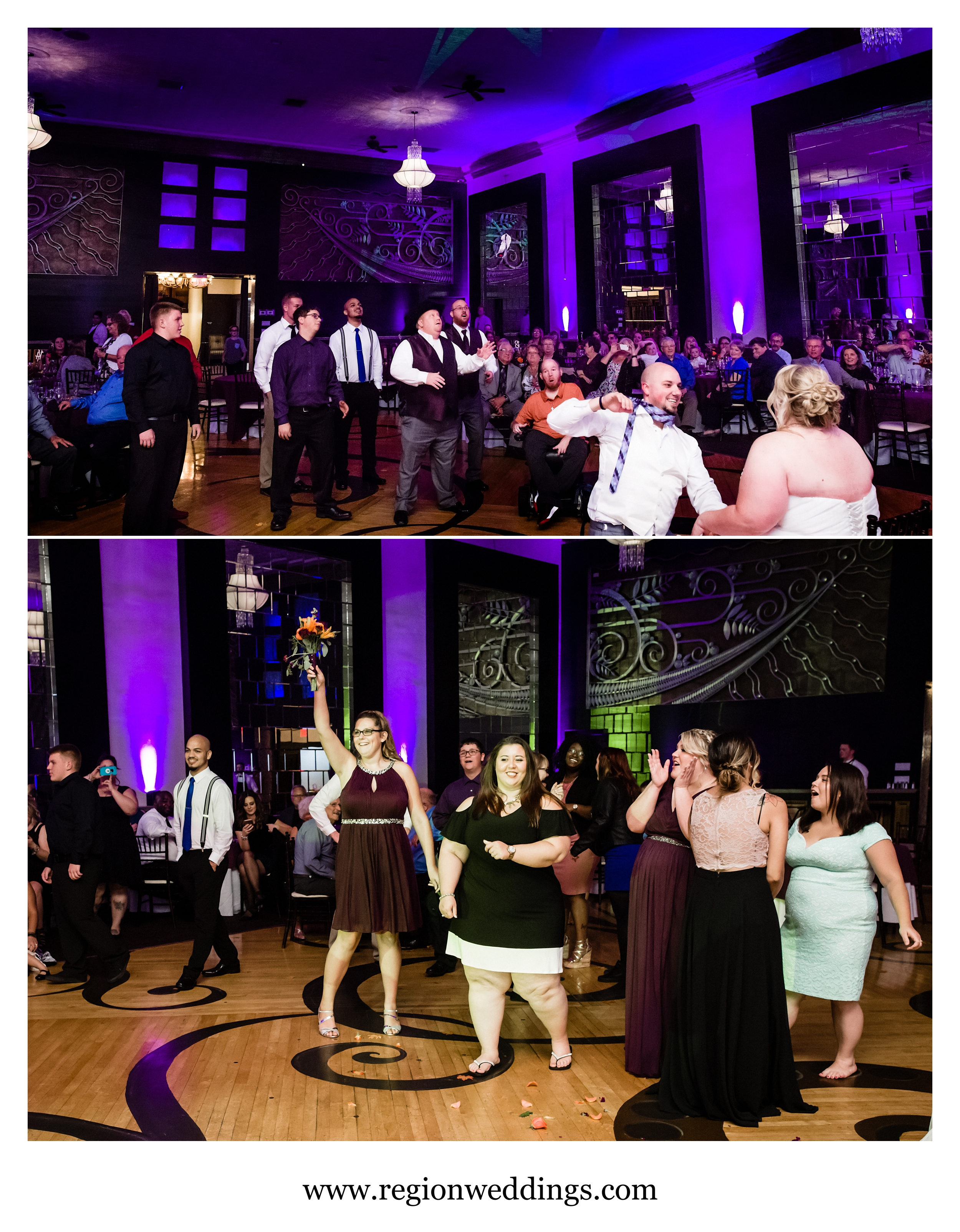 Bouquet and garter toss at The Allure.