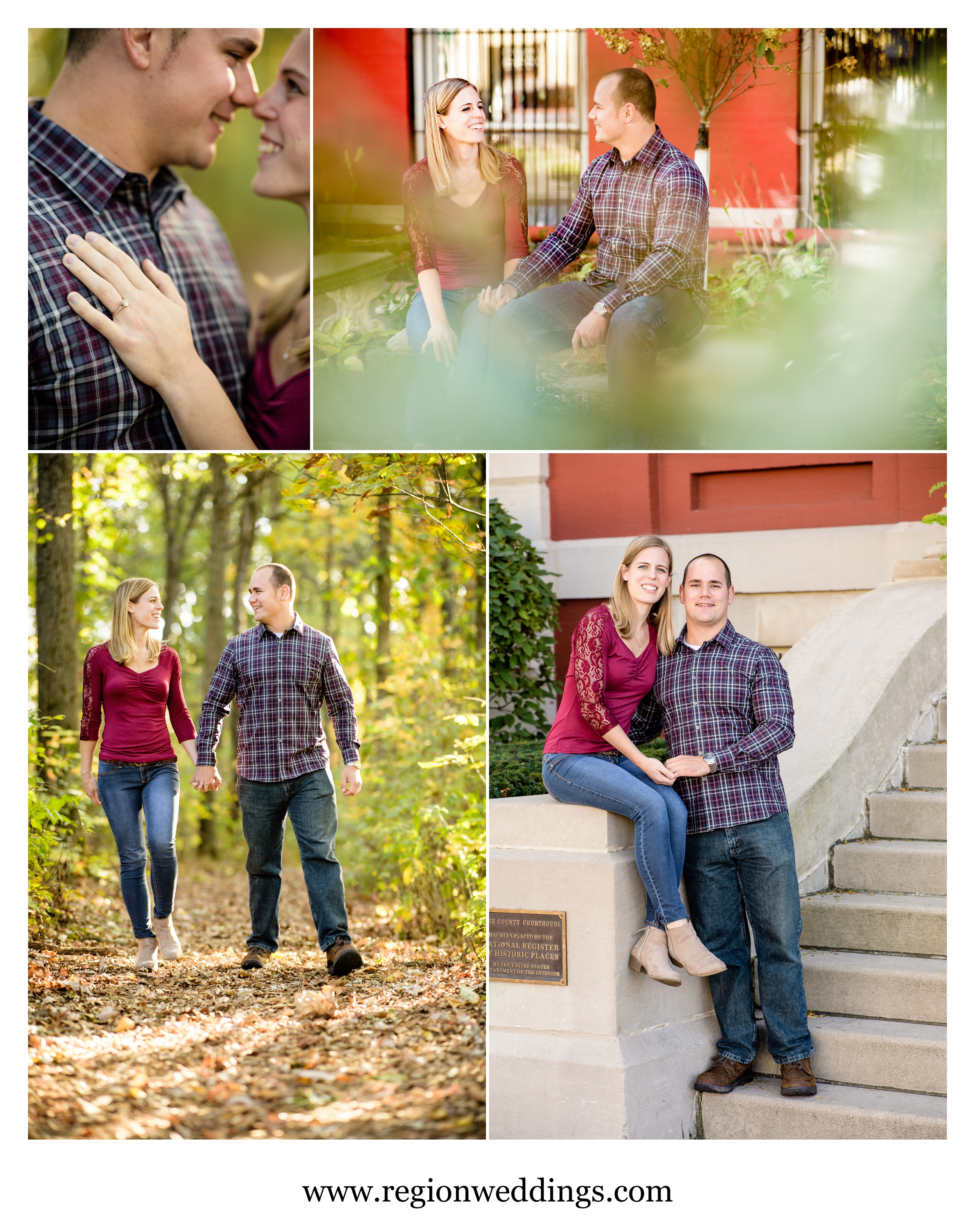 Romantic Fall engagement photos.