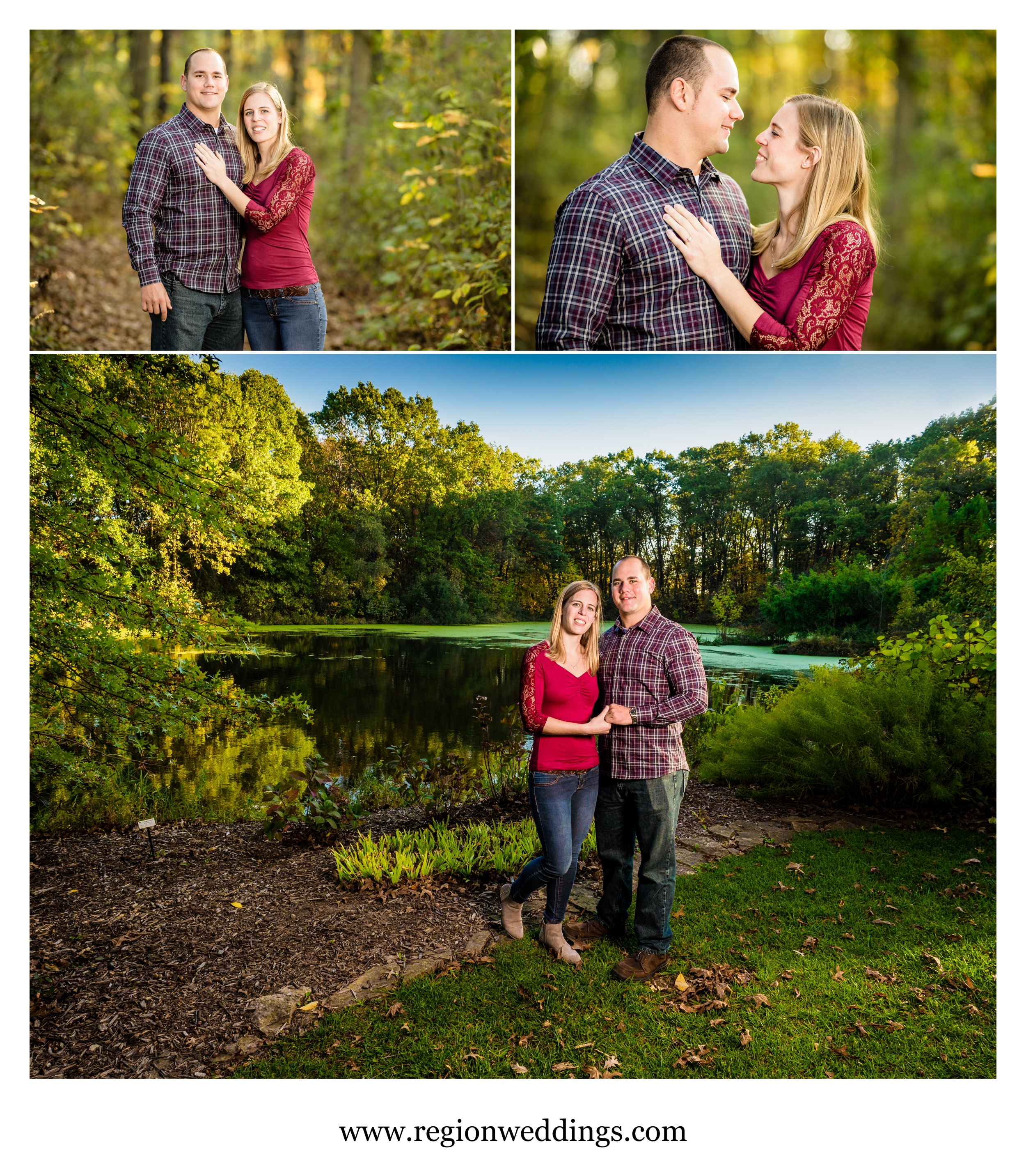 Fall engagement photos at the scenic Taltree Arboretum in Valparaiso, Indiana.