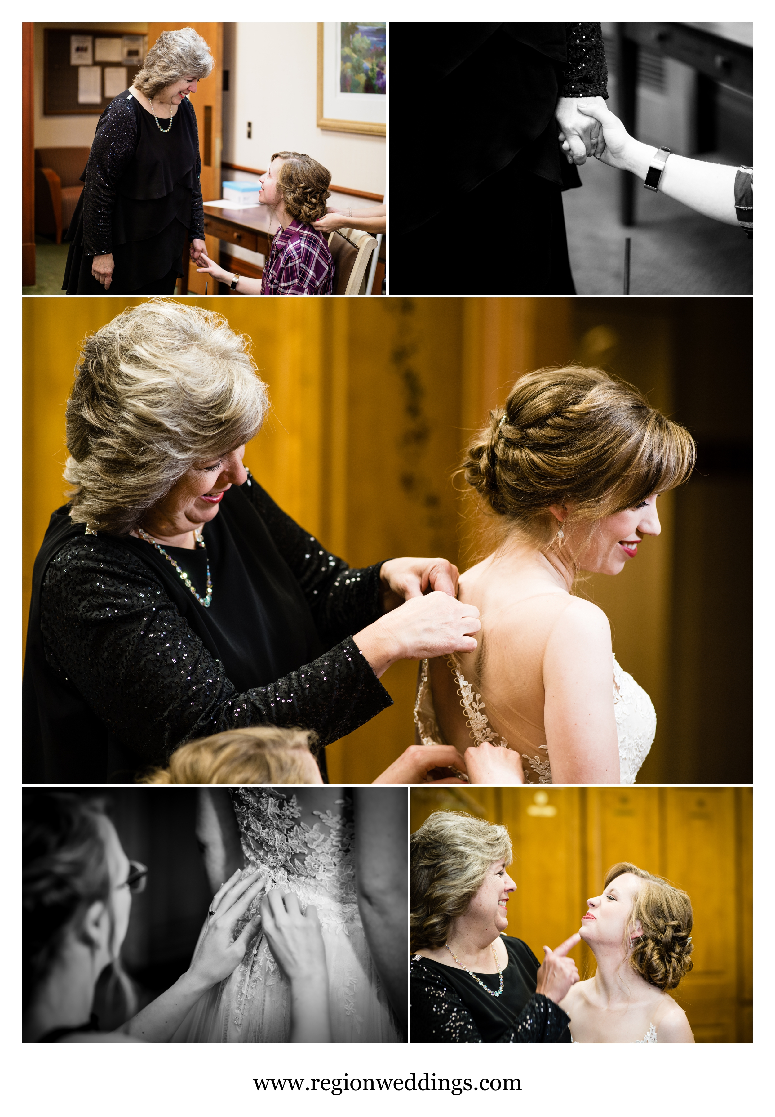 Mother of the bride with her daughter on wedding day.