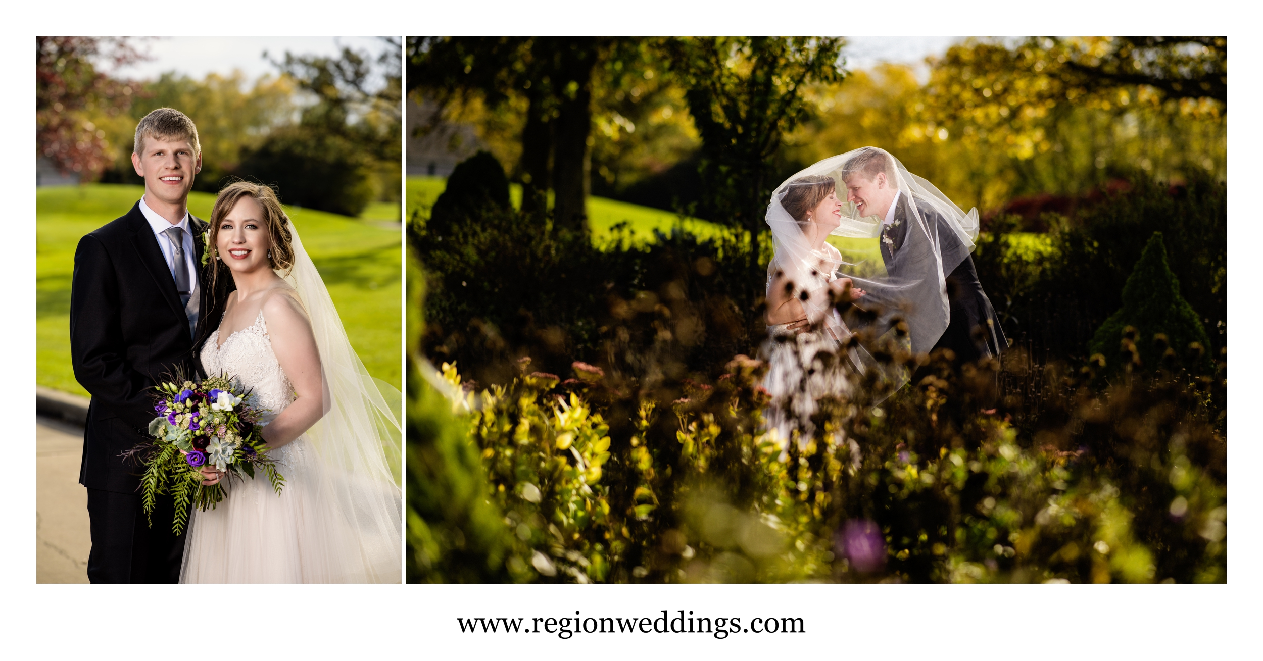 Bride and groom at their Fall wedding at Sand Creek Country Club.
