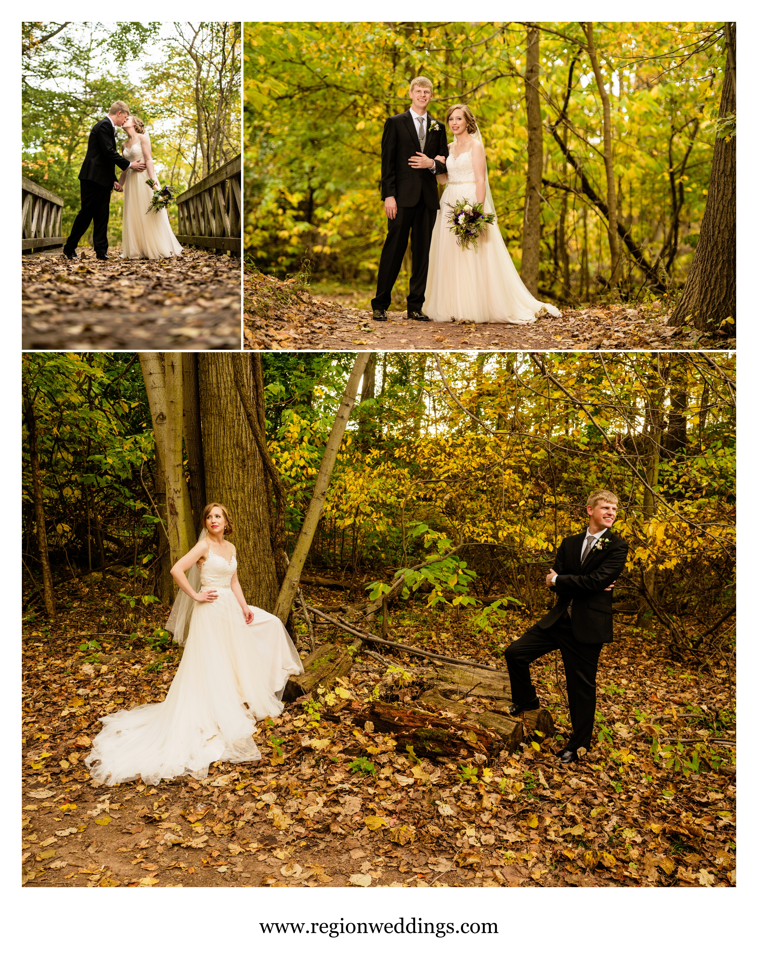 The bride and groom surrounded by golden Fall color.