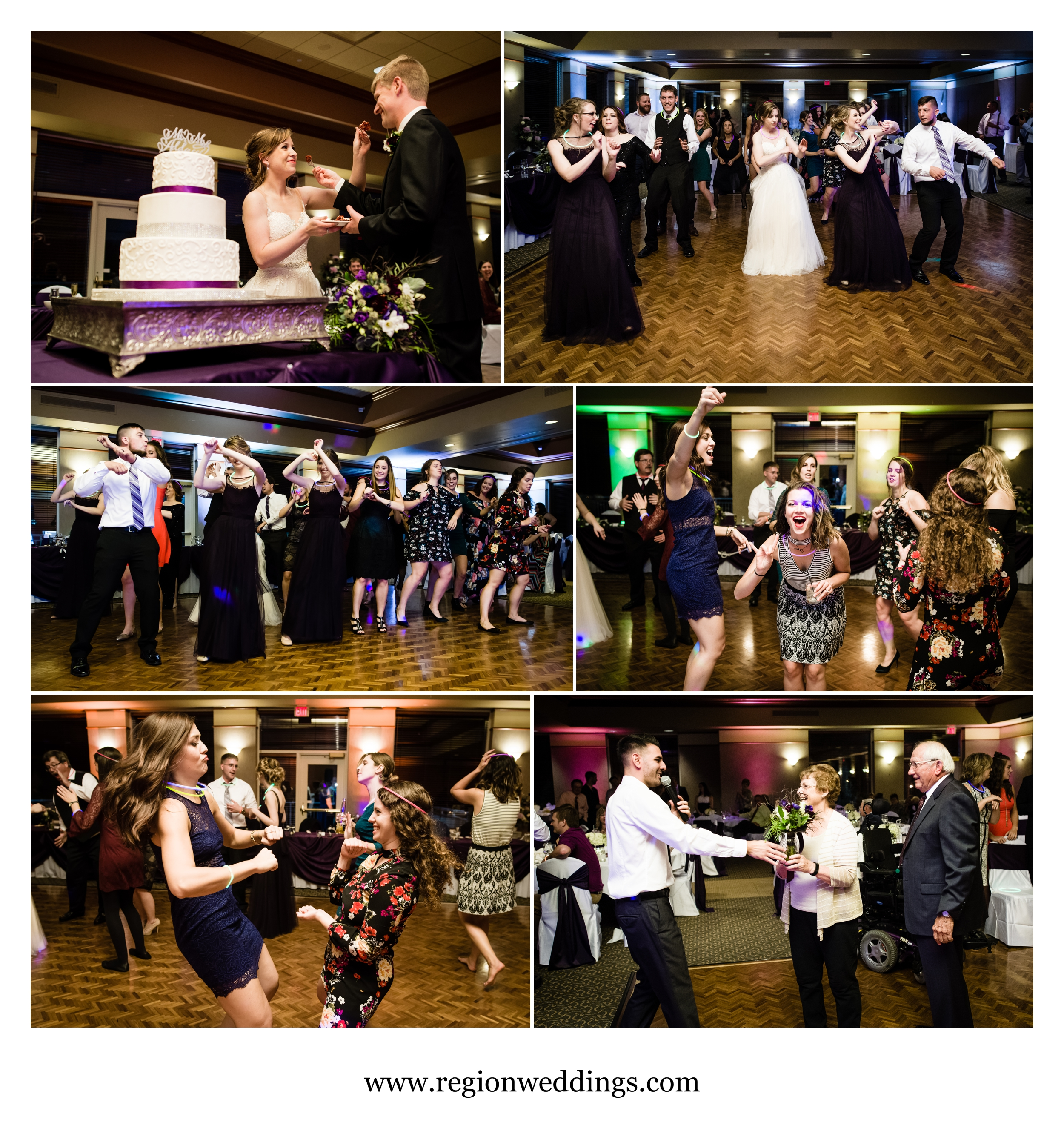 Party time on the dance floor during a wedding reception at Sand Creek Country Club.