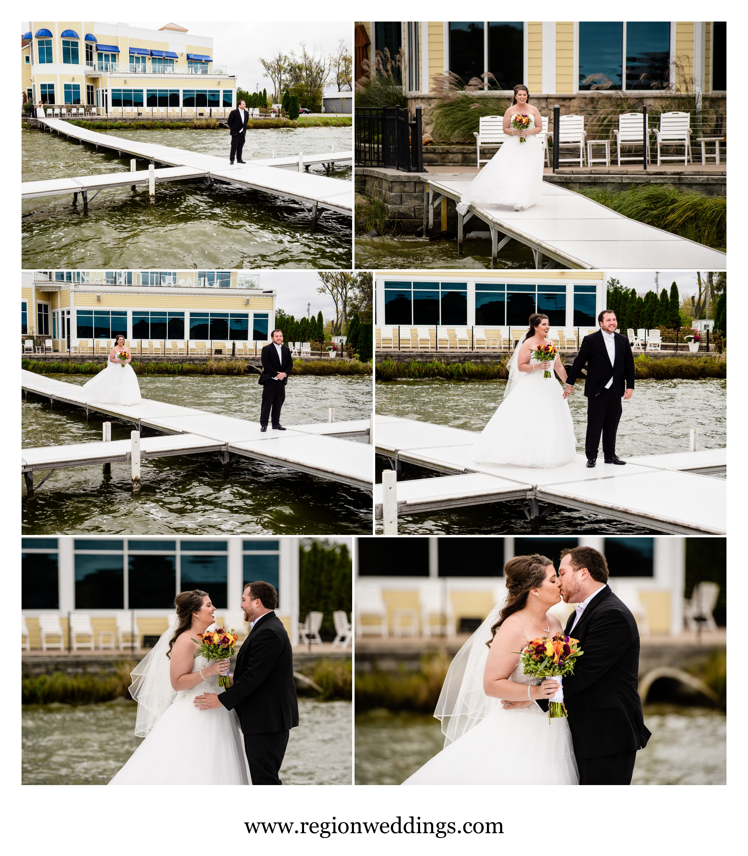 First look for the bride and groom on the pier at Lighthouse Restaurant.